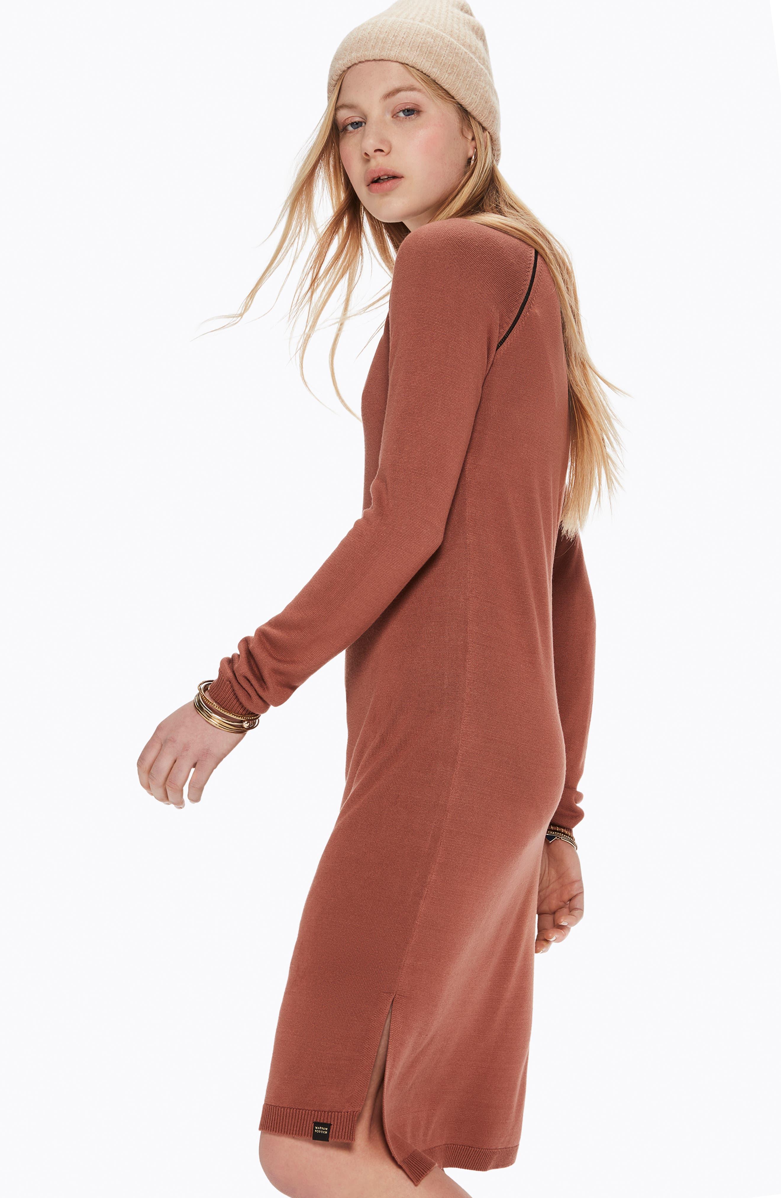 Ladder Inset Sweater Dress,                             Alternate thumbnail 10, color,                             VINTAGE ROSE