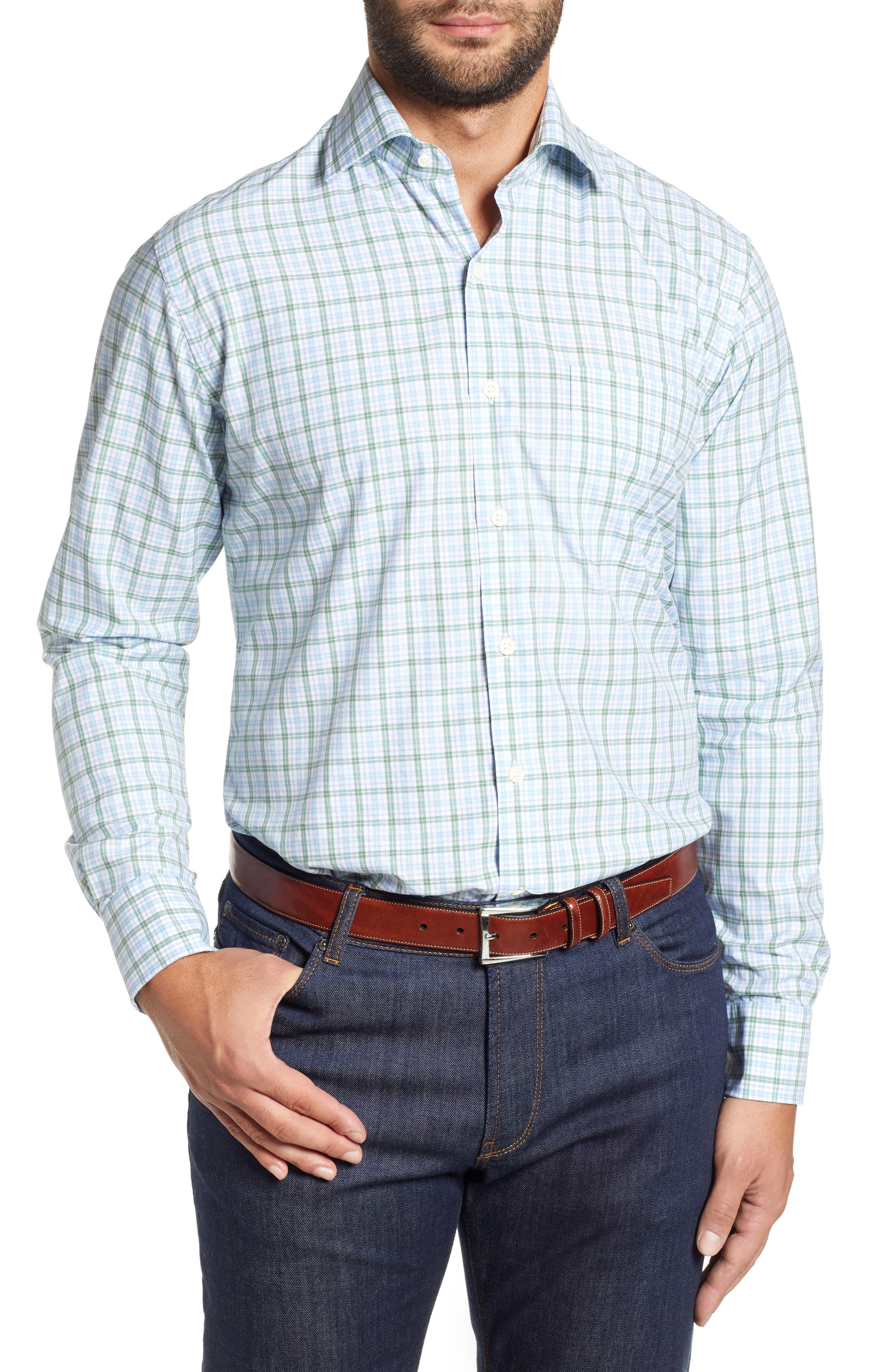 Crown Finish Linden Check Regular Fit Sport Shirt,                             Main thumbnail 1, color,                             BLUE