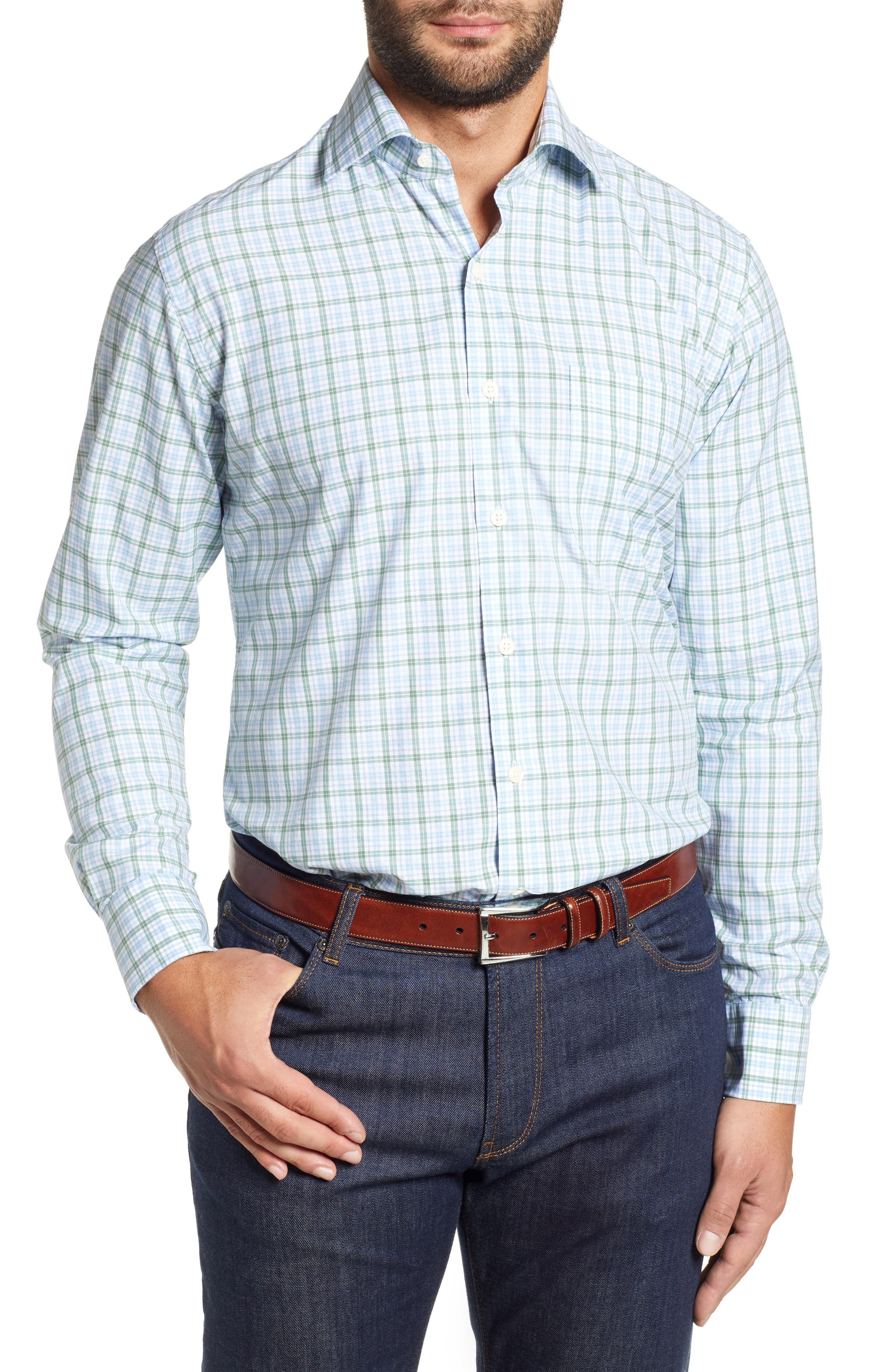 Crown Finish Linden Check Regular Fit Sport Shirt,                         Main,                         color, BLUE