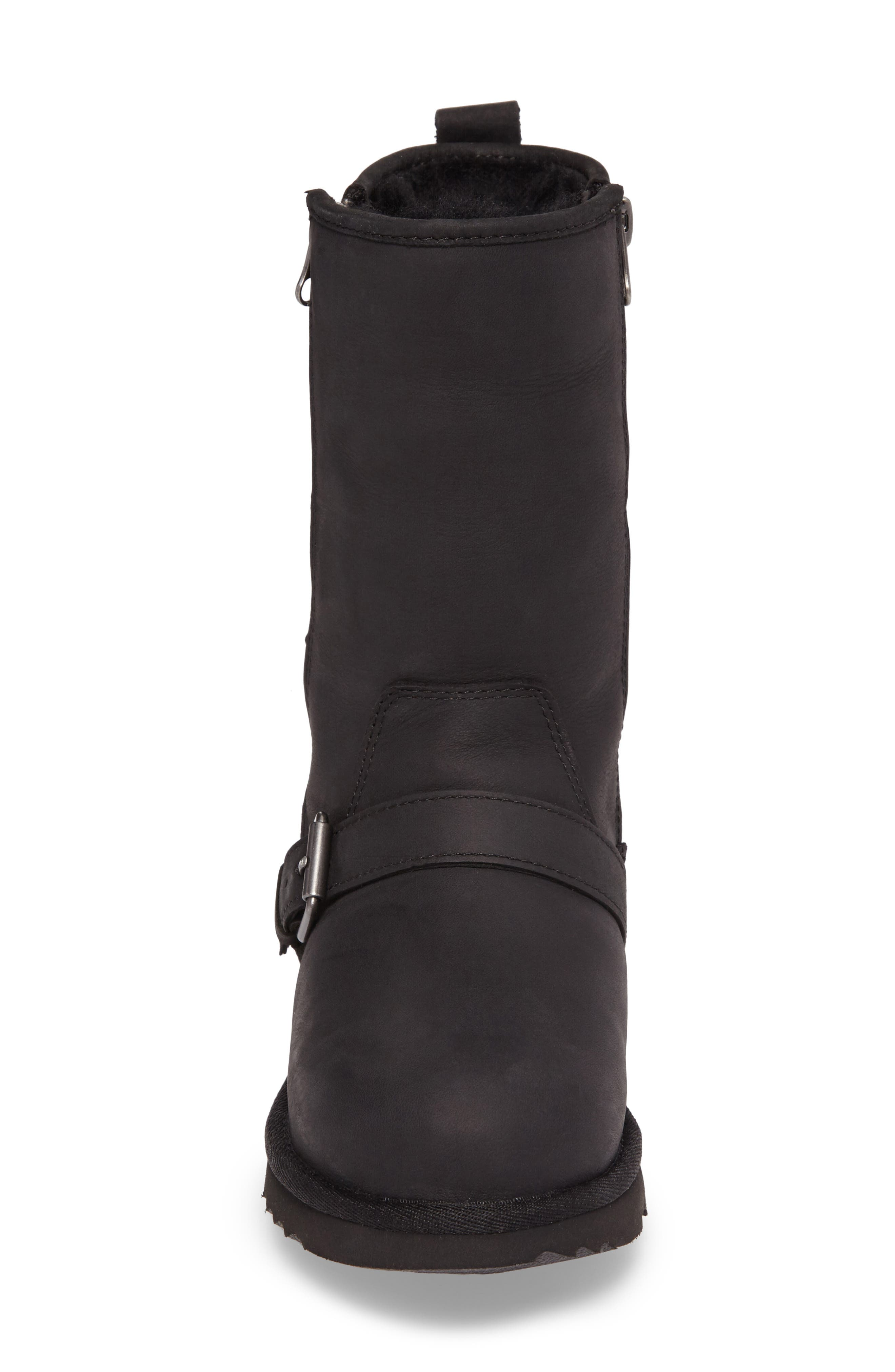Kaila Genuine Shearling Buckle Strap Boot,                             Alternate thumbnail 4, color,                             001