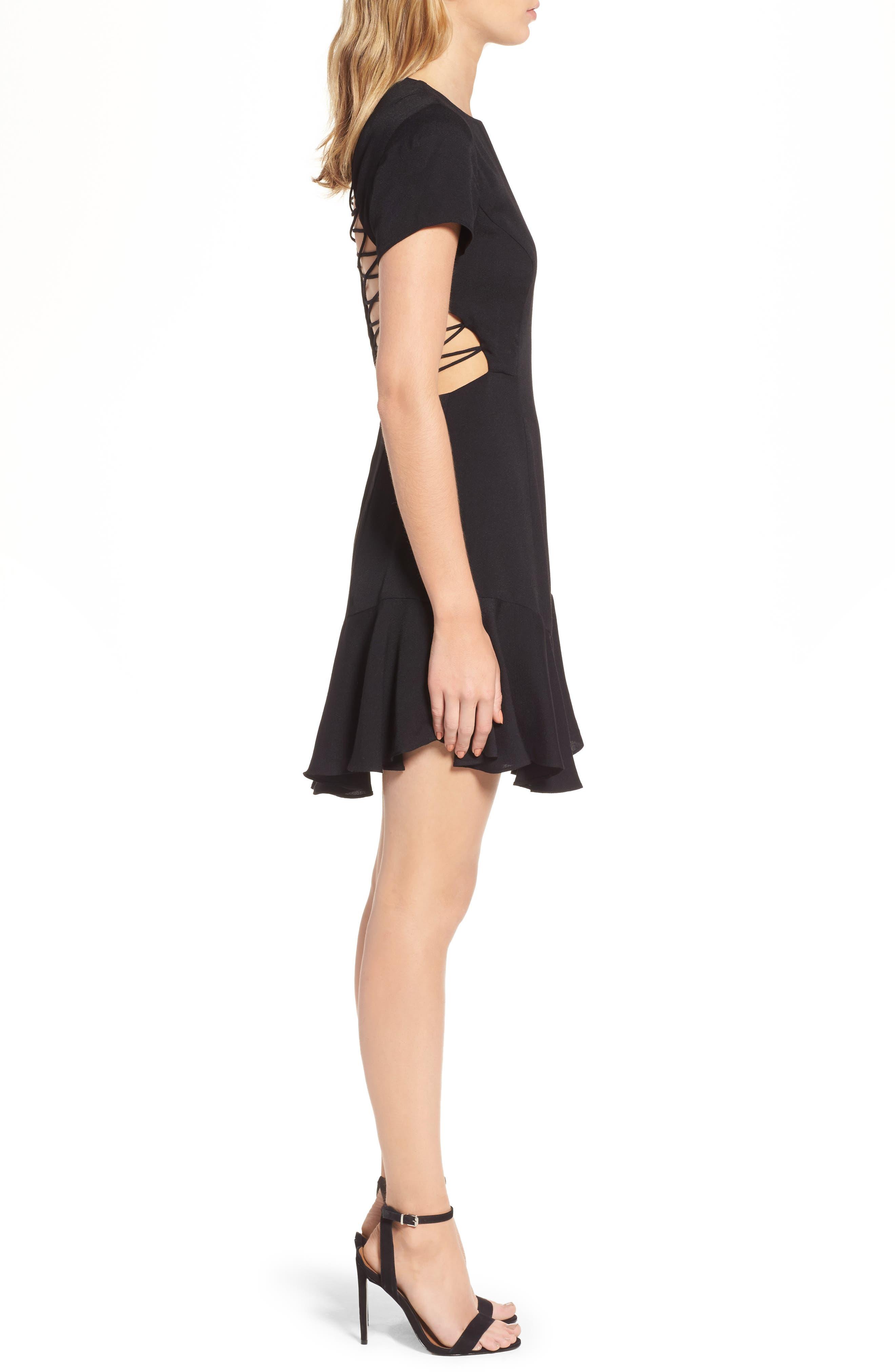 Chelsea Lattice Back Fit & Flare Dress,                             Alternate thumbnail 9, color,