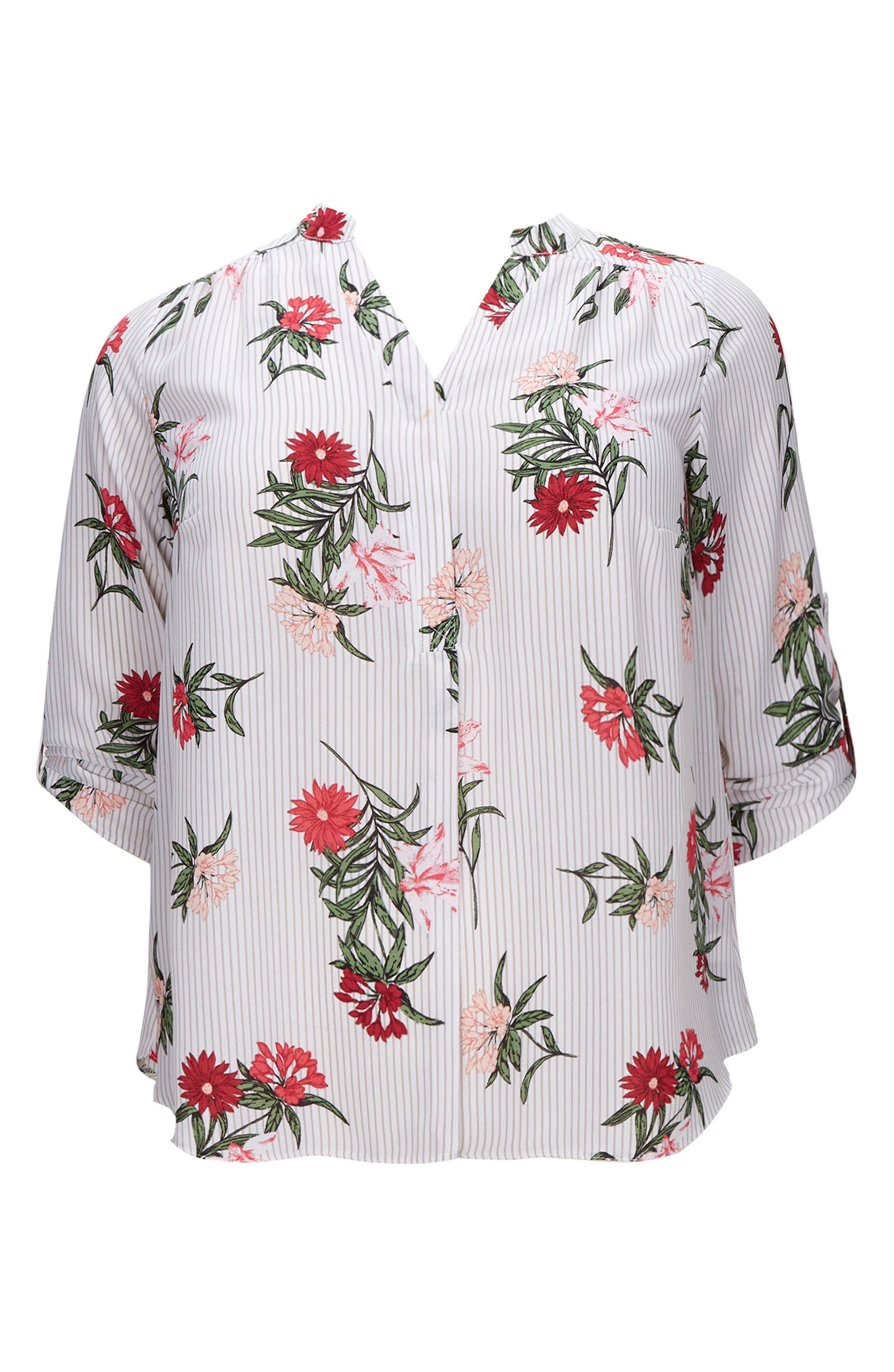 Floral Stripe Shirt,                             Alternate thumbnail 3, color,                             107