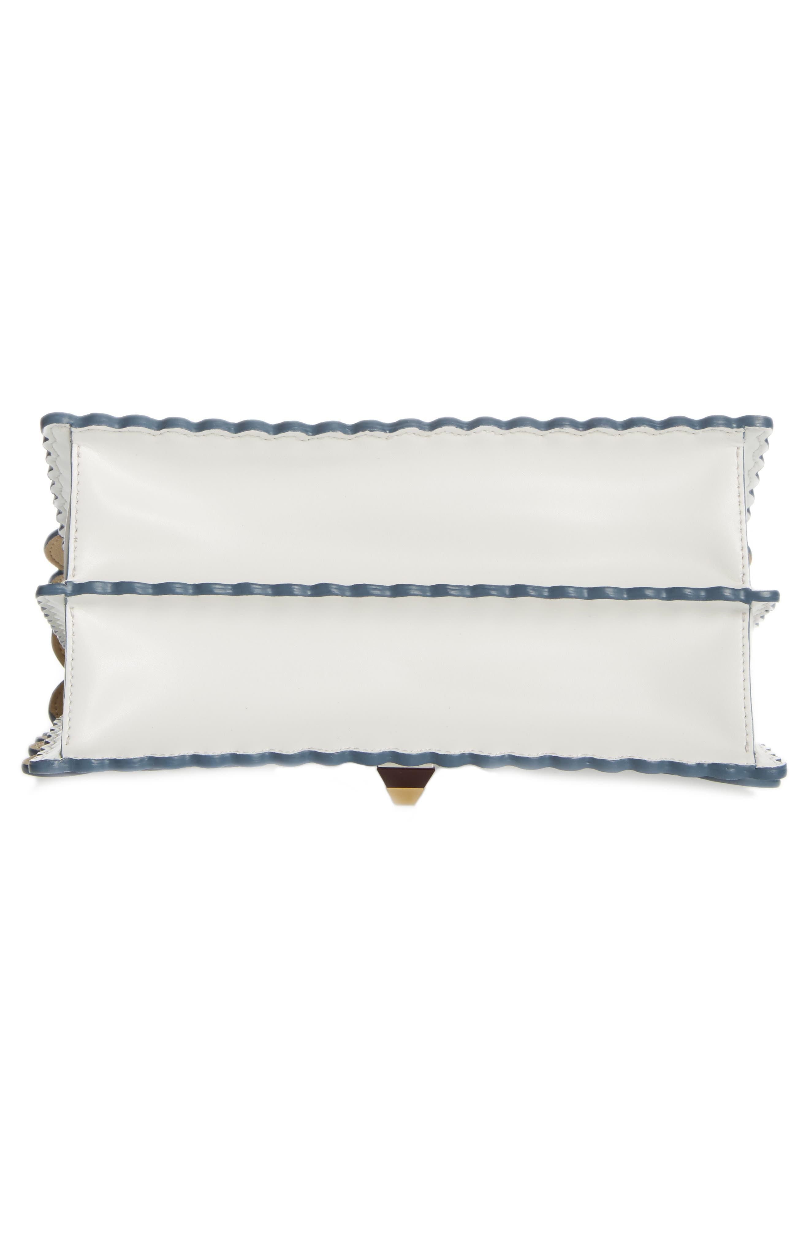 Kan I Scallop Leather Shoulder Bag,                             Alternate thumbnail 6, color,                             WHITE