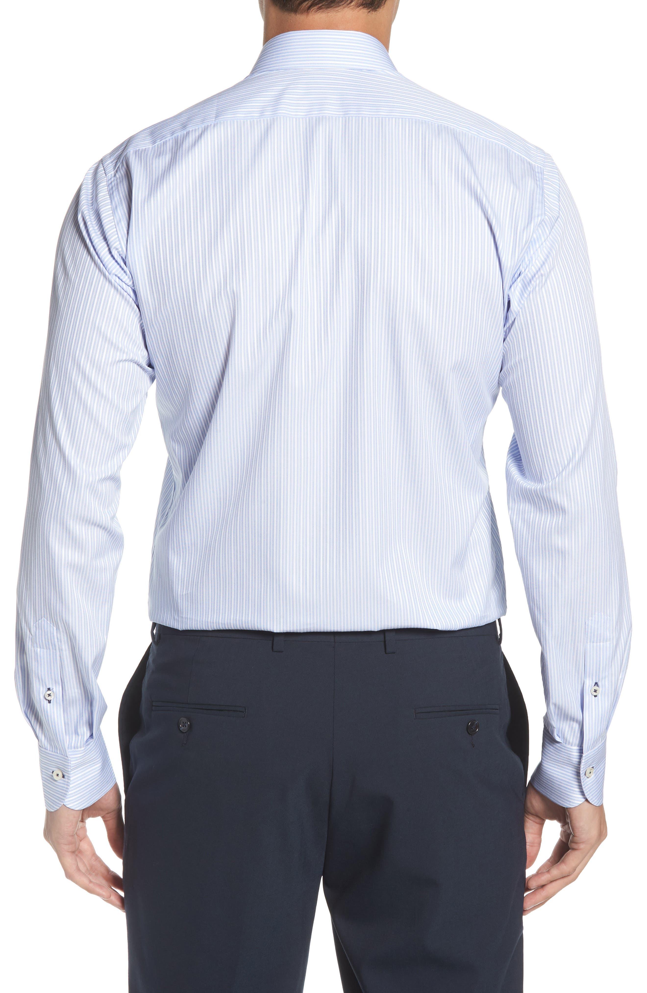 Regular Fit Stripe Dress Shirt,                             Alternate thumbnail 3, color,                             LIGHT BLUE