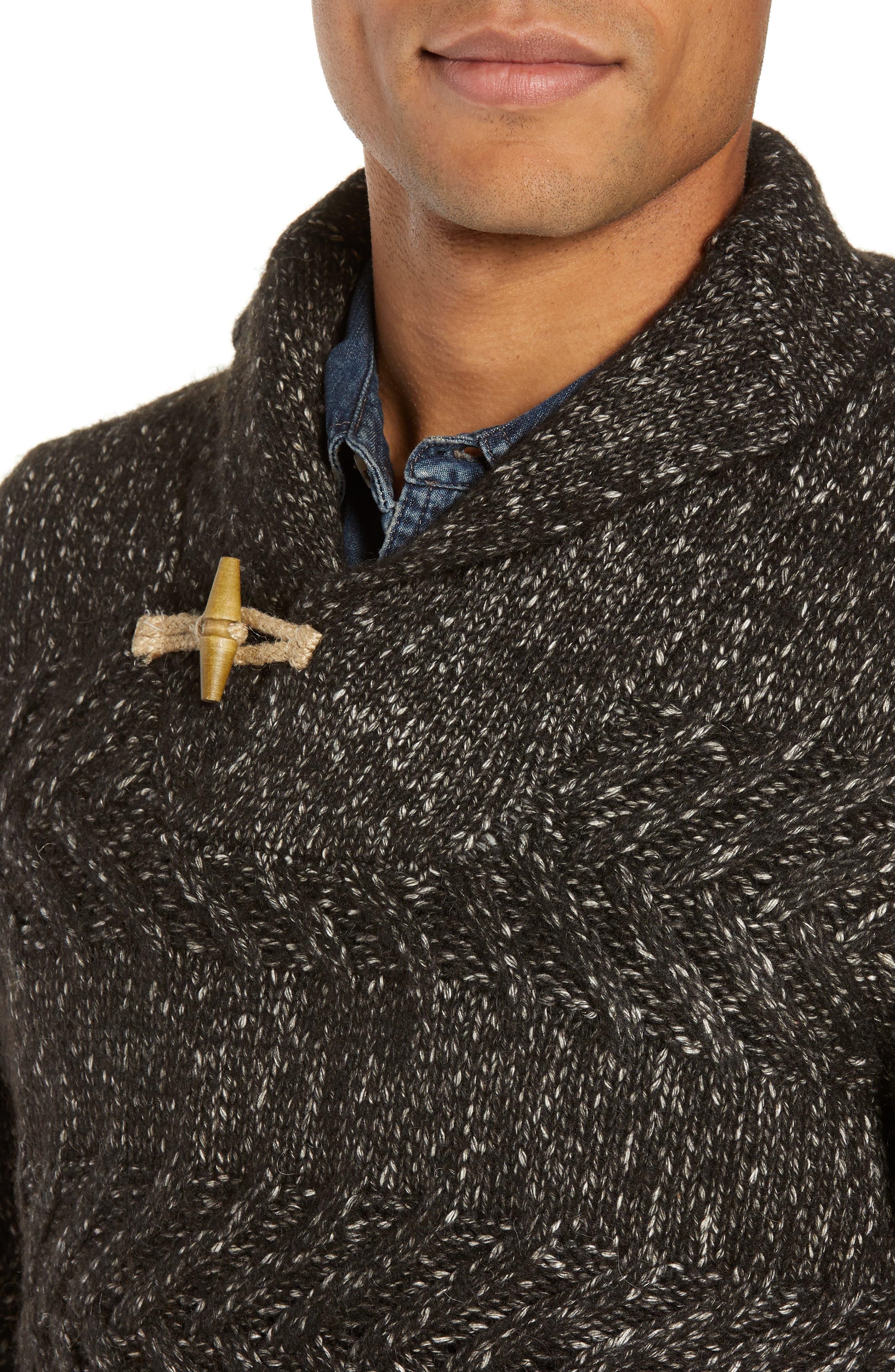 SCHOTT NYC,                             Heathered Shawl Collar Sweater,                             Alternate thumbnail 4, color,                             BLACK