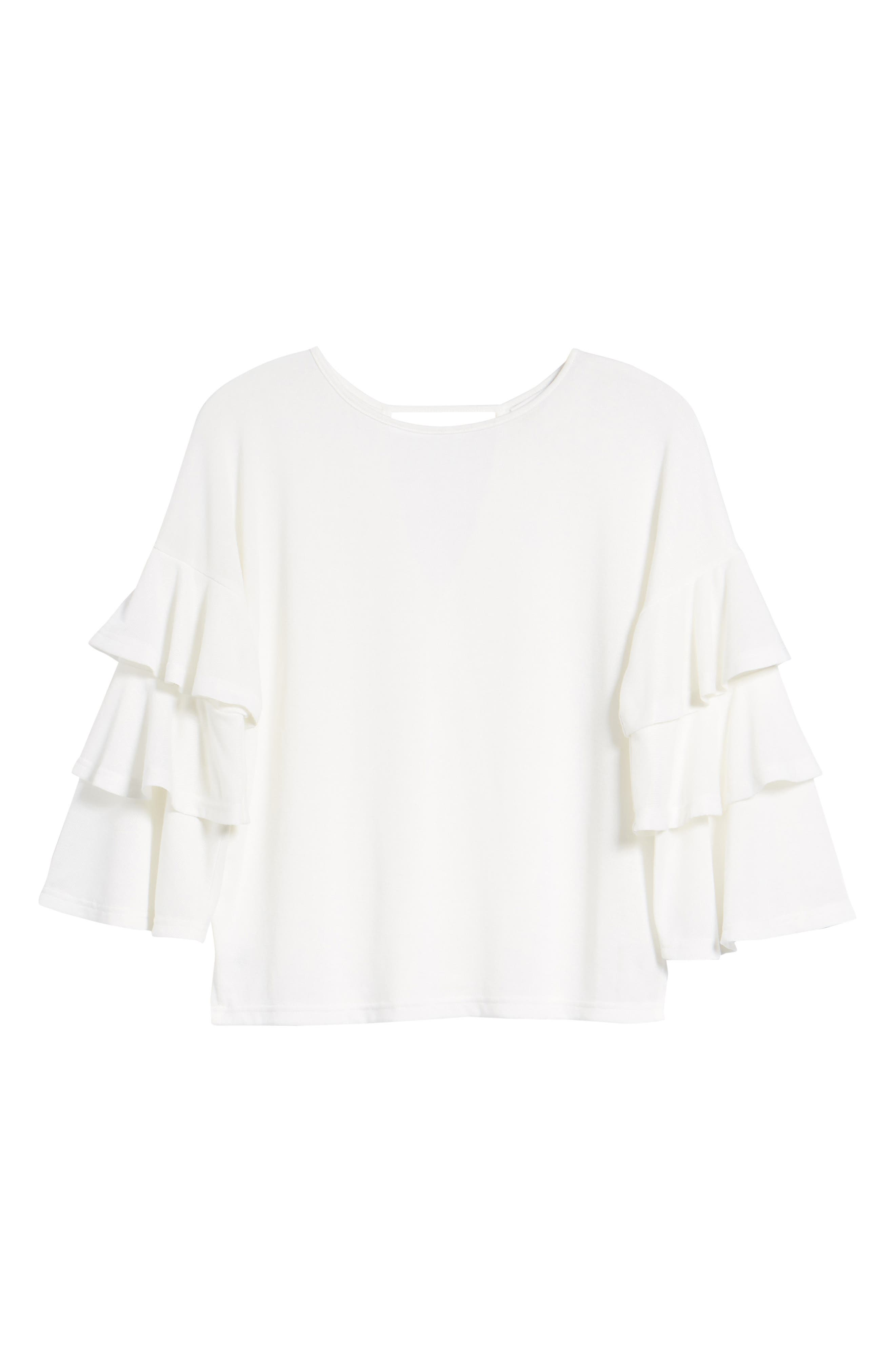 Bishop + Young Katie Tiered Ruffle Sleeve Top,                             Alternate thumbnail 7, color,                             WHITE
