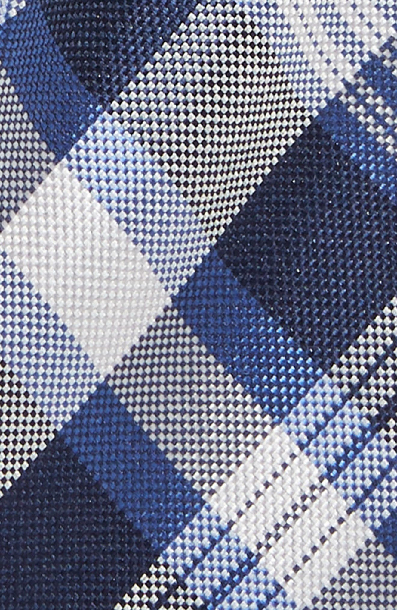 Plaid Silk Tie,                             Alternate thumbnail 2, color,                             NAVY
