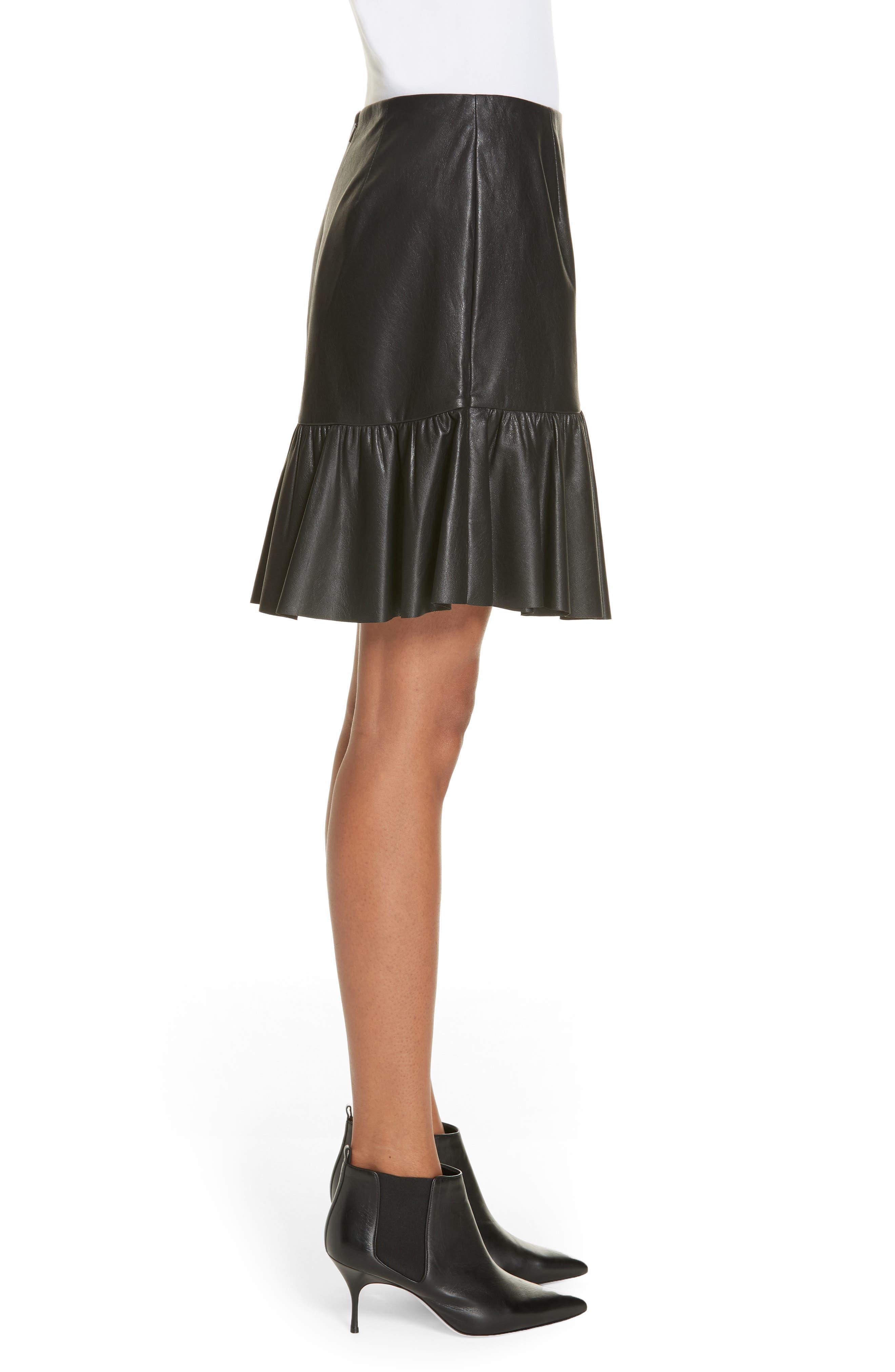 Faux Leather Skirt,                             Alternate thumbnail 3, color,                             001