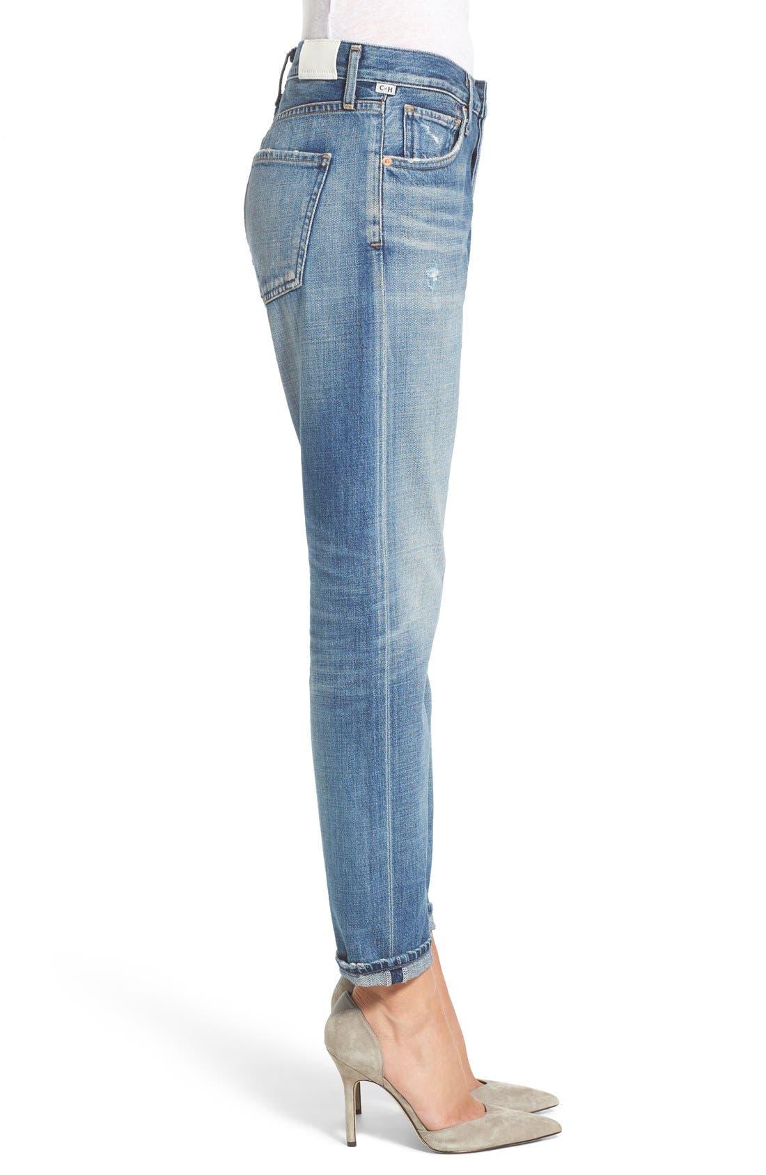Liya High Waist Slim Boyfriend Jeans,                             Alternate thumbnail 3, color,                             426