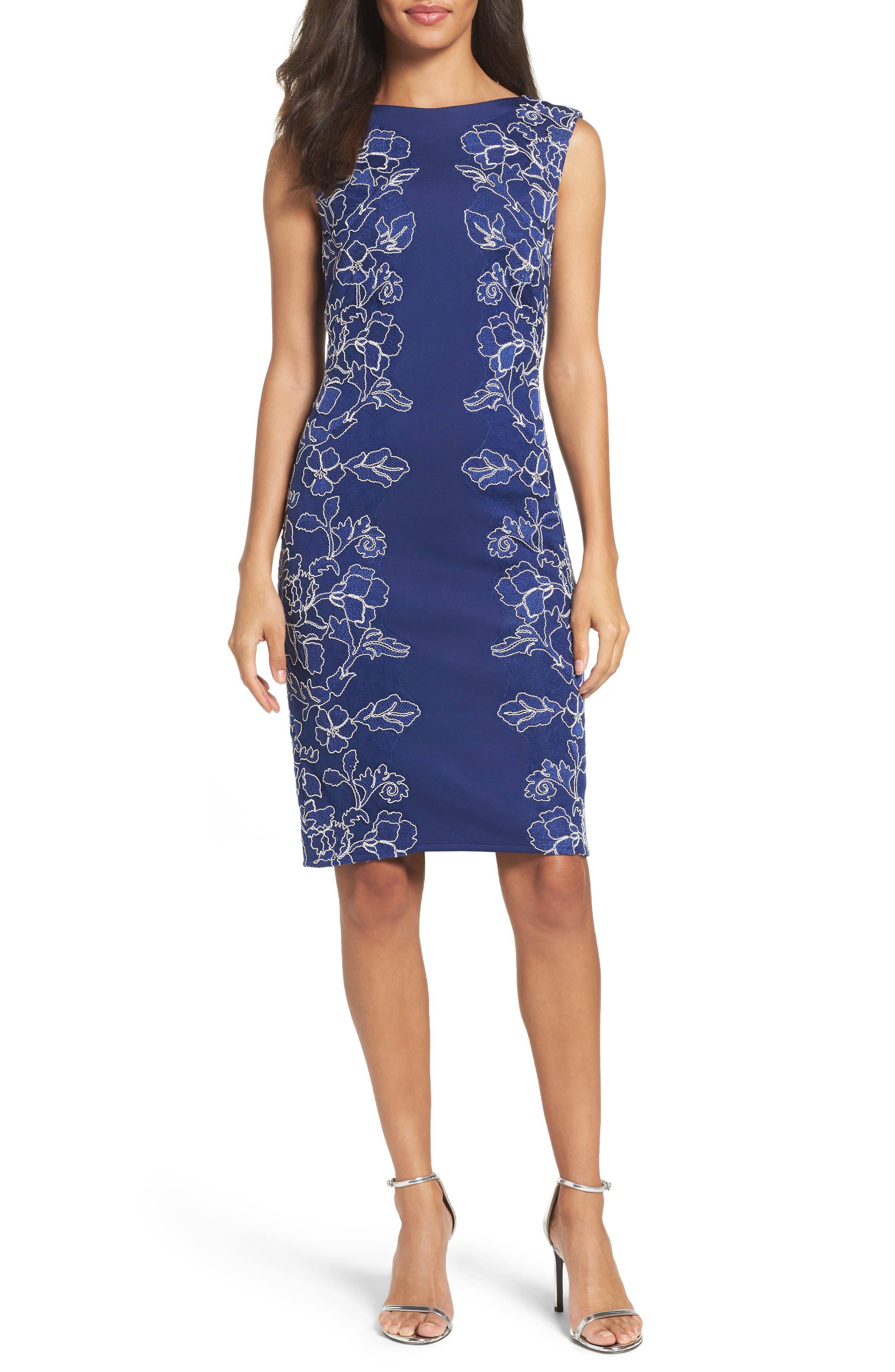 Embroidered Neoprene Sheath Dress,                             Main thumbnail 3, color,