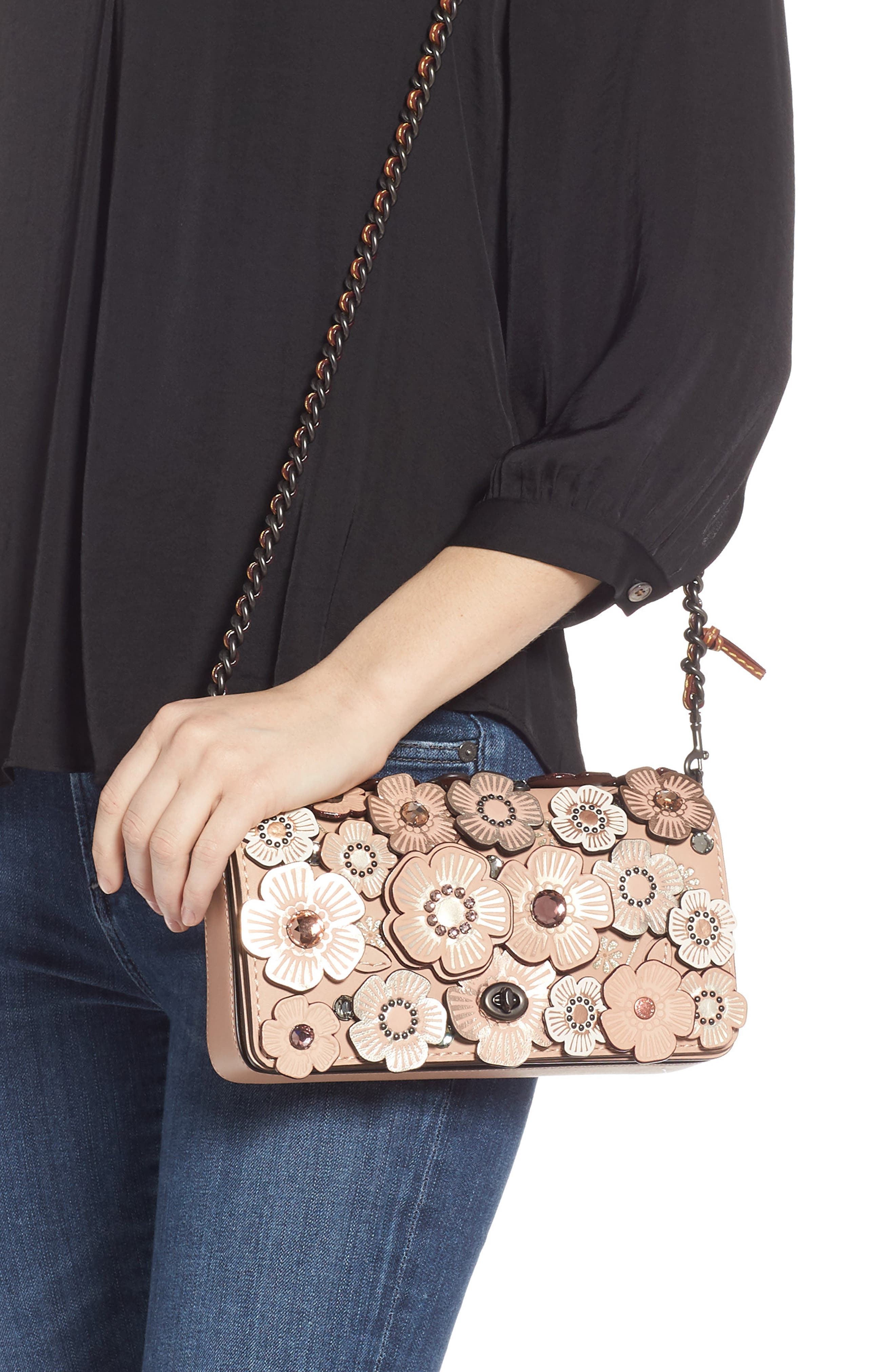 Dinky Crystal Tea Rose Appliqué Leather Crossbody Bag,                             Alternate thumbnail 2, color,                             203