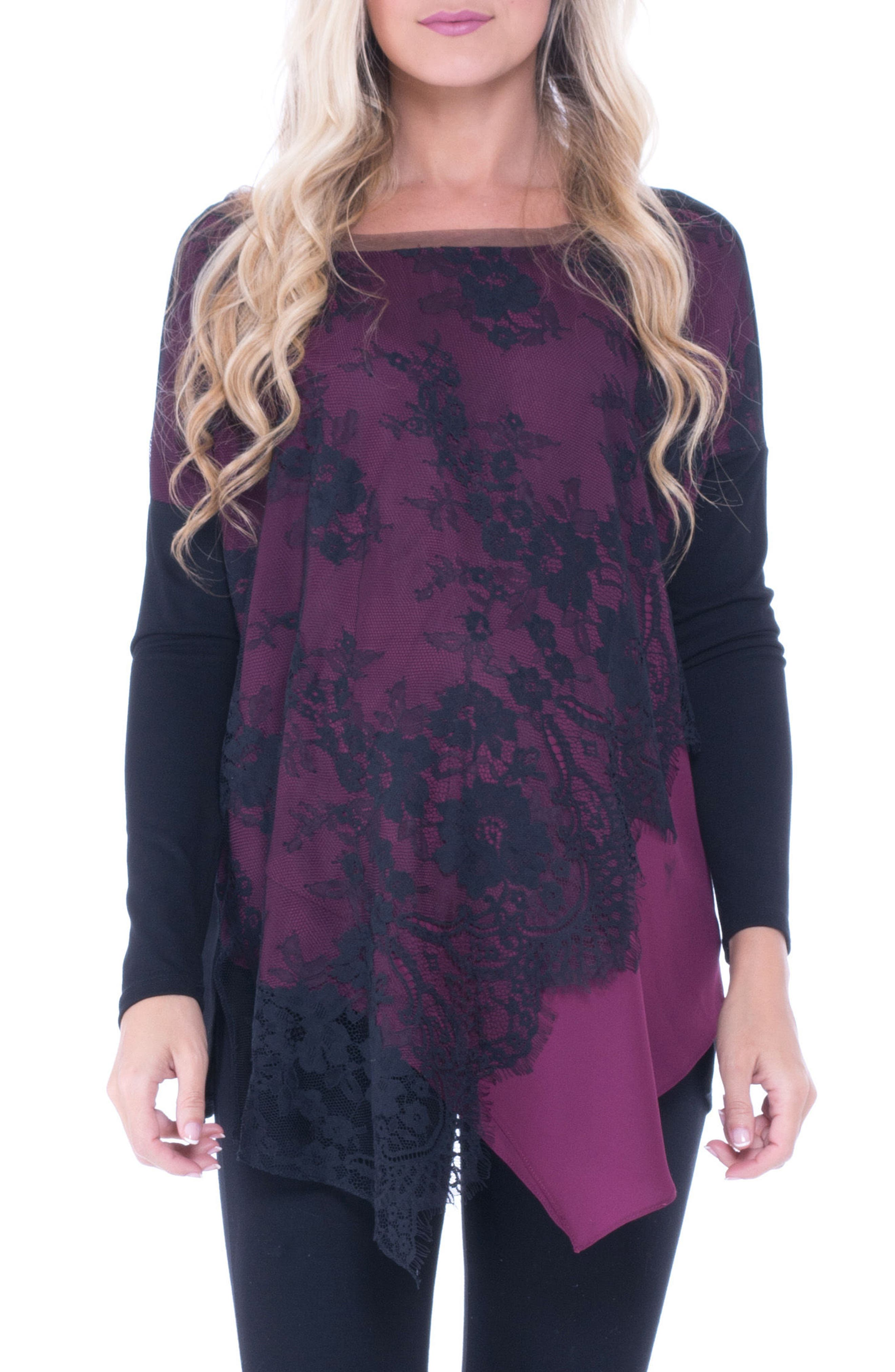 Bernadine Lace Overlay Maternity Top,                             Main thumbnail 1, color,