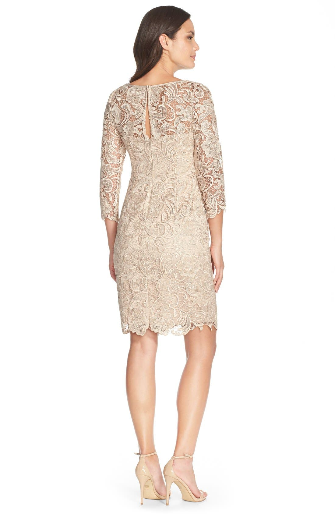 ADRIANNA PAPELL,                             Illusion Yoke Guipure Lace Sheath Dress,                             Alternate thumbnail 2, color,                             250
