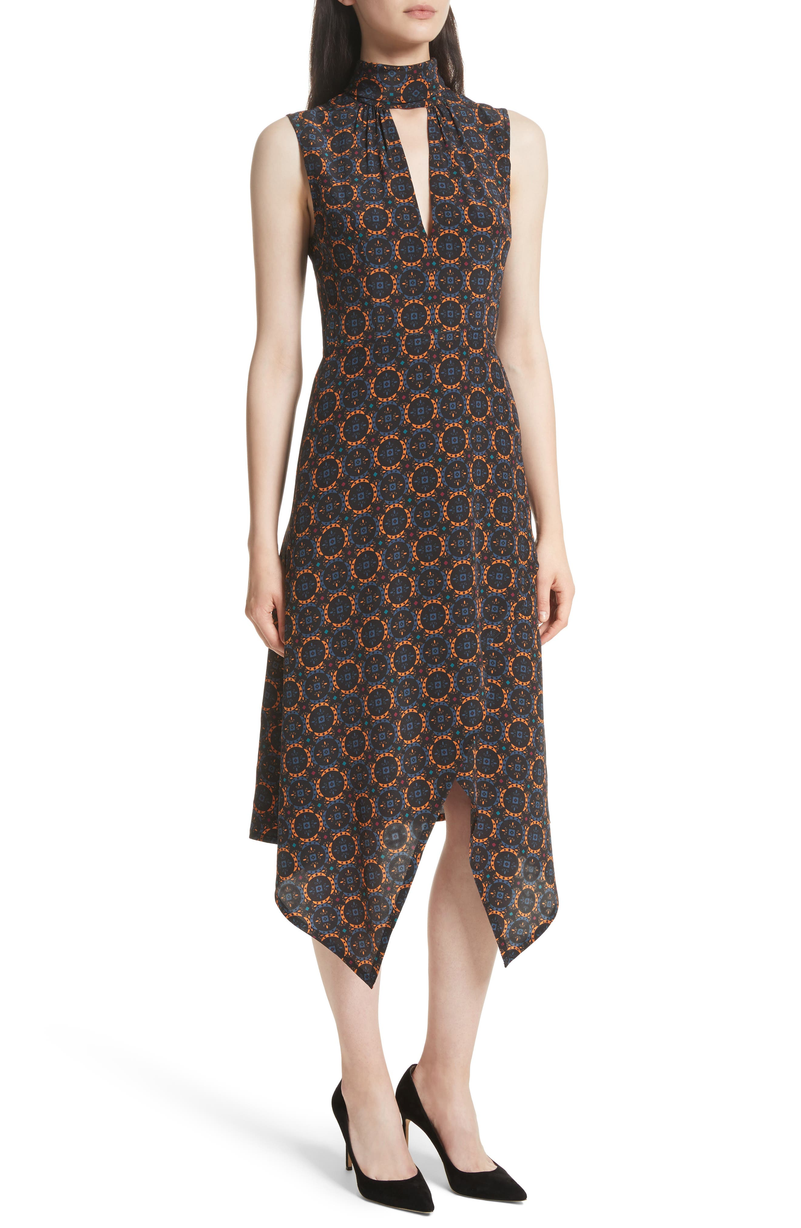 Kerchief A-Line Silk Dress,                             Alternate thumbnail 4, color,                             436