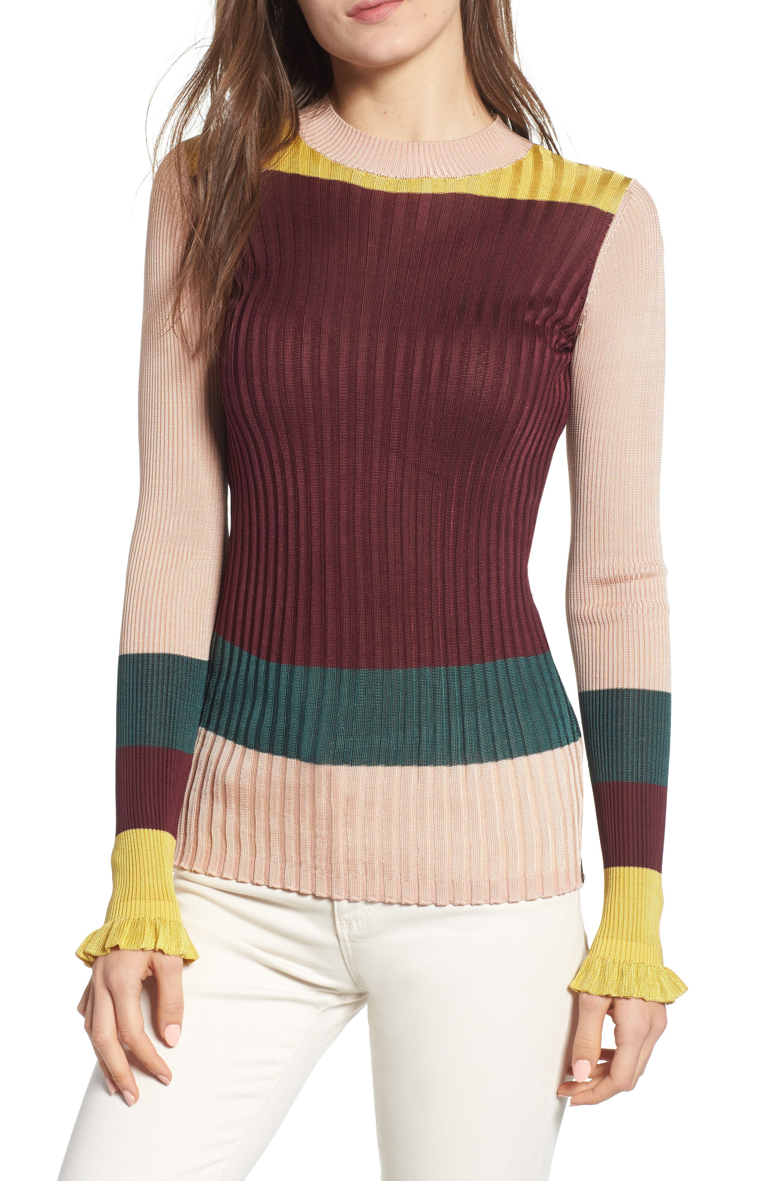 Colorblock Ribbed Sweater,                             Main thumbnail 1, color,                             BURGUNDY NUDE YELLOW