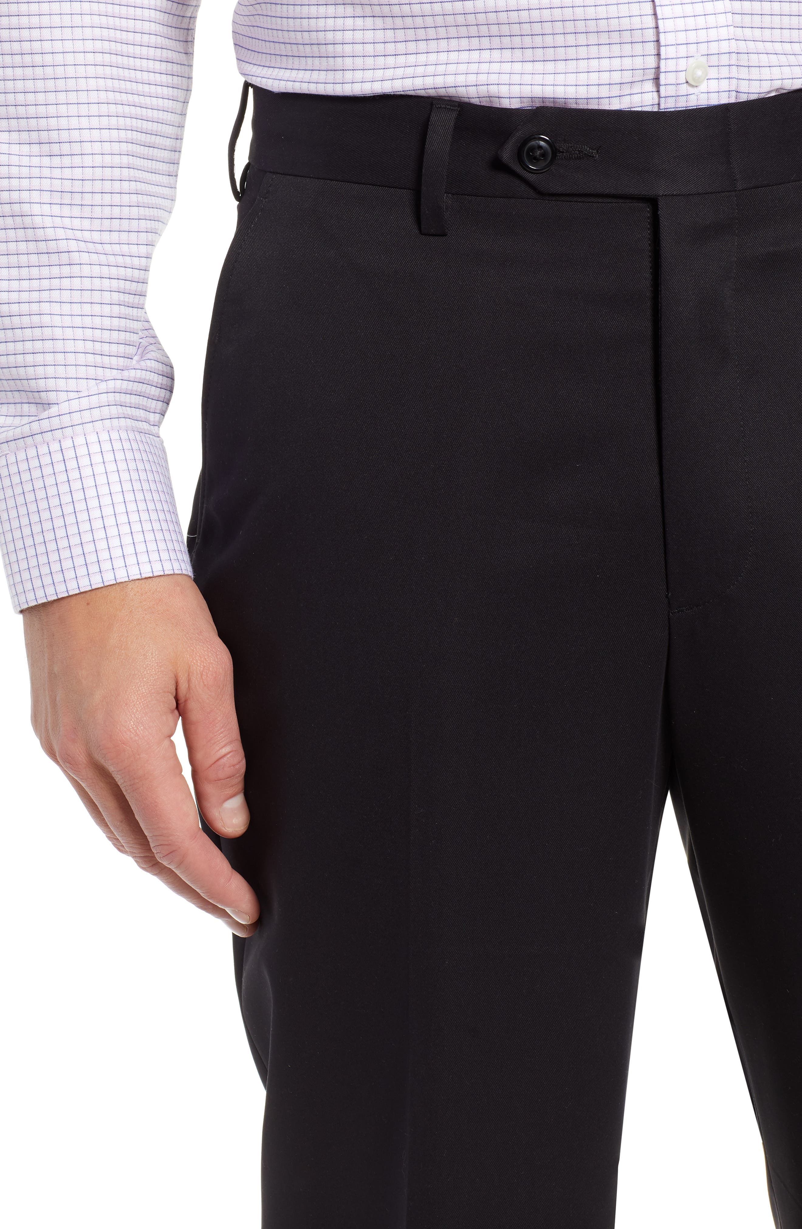Classic Fit Flat Front Microfiber Performance Trousers,                             Alternate thumbnail 4, color,                             BLACK