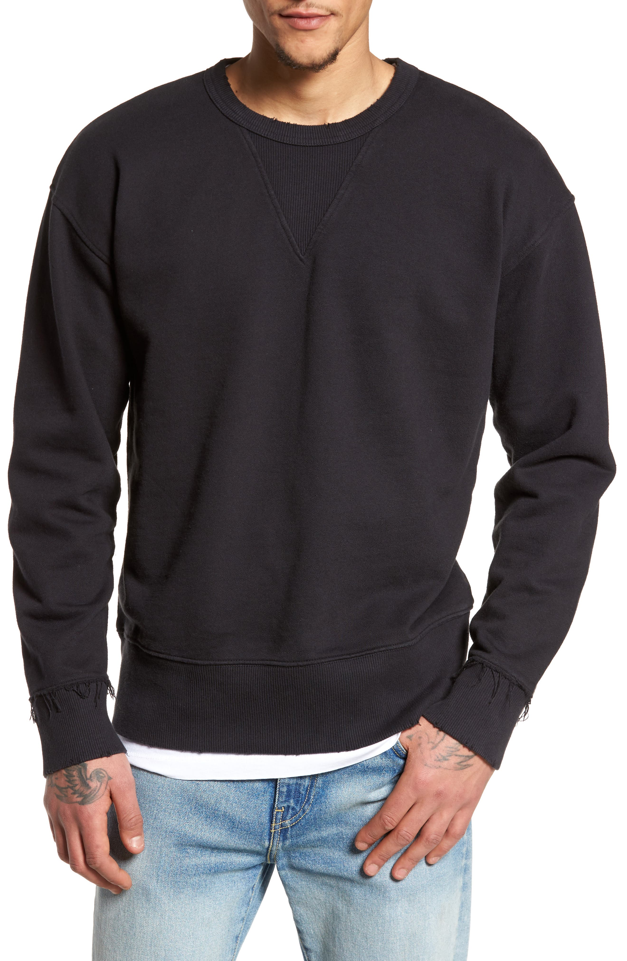 Distressed Sweatshirt,                             Main thumbnail 1, color,                             001