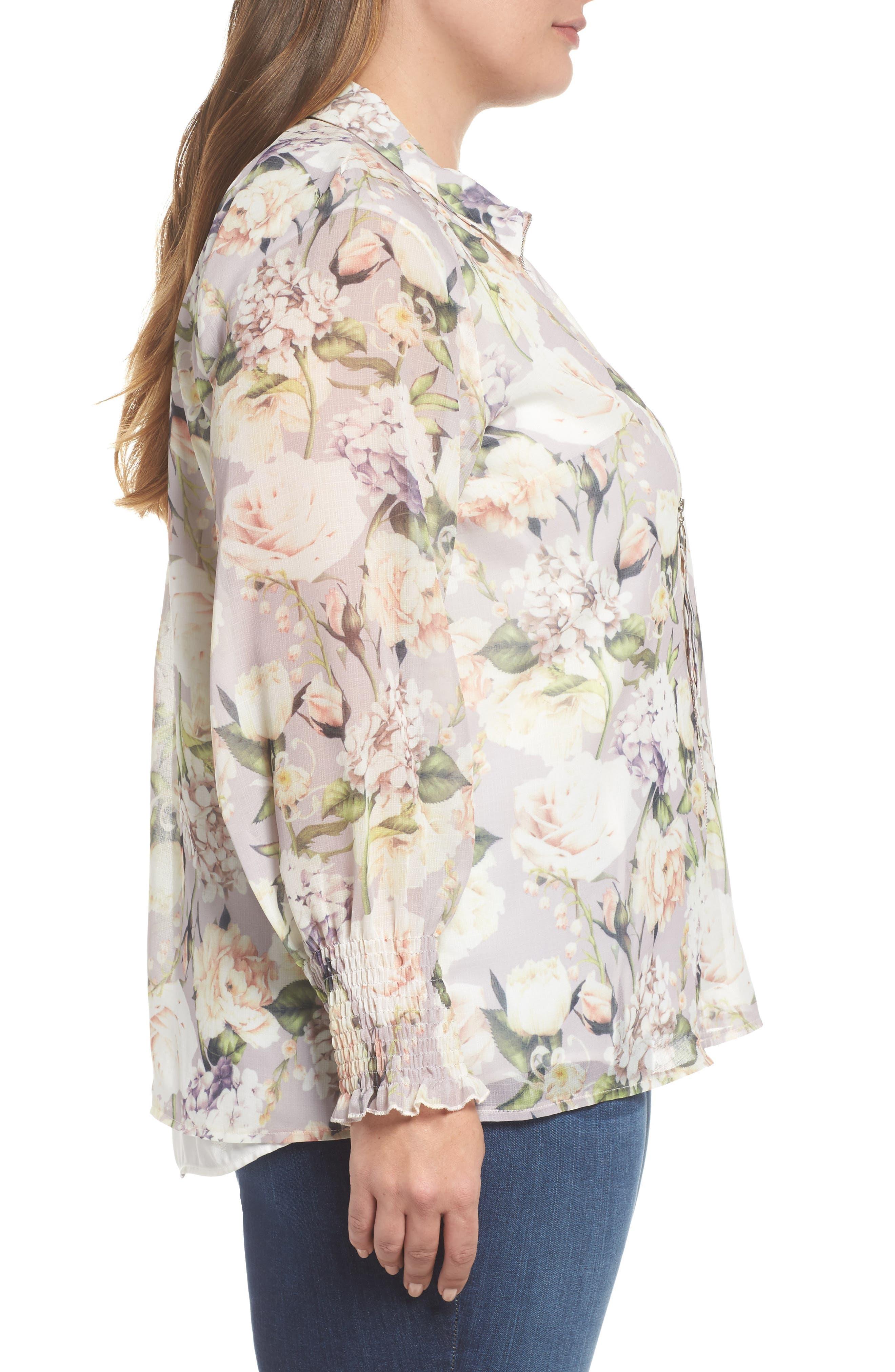 The Talinum Floral Zip Shirt,                             Alternate thumbnail 3, color,                             PURPLE