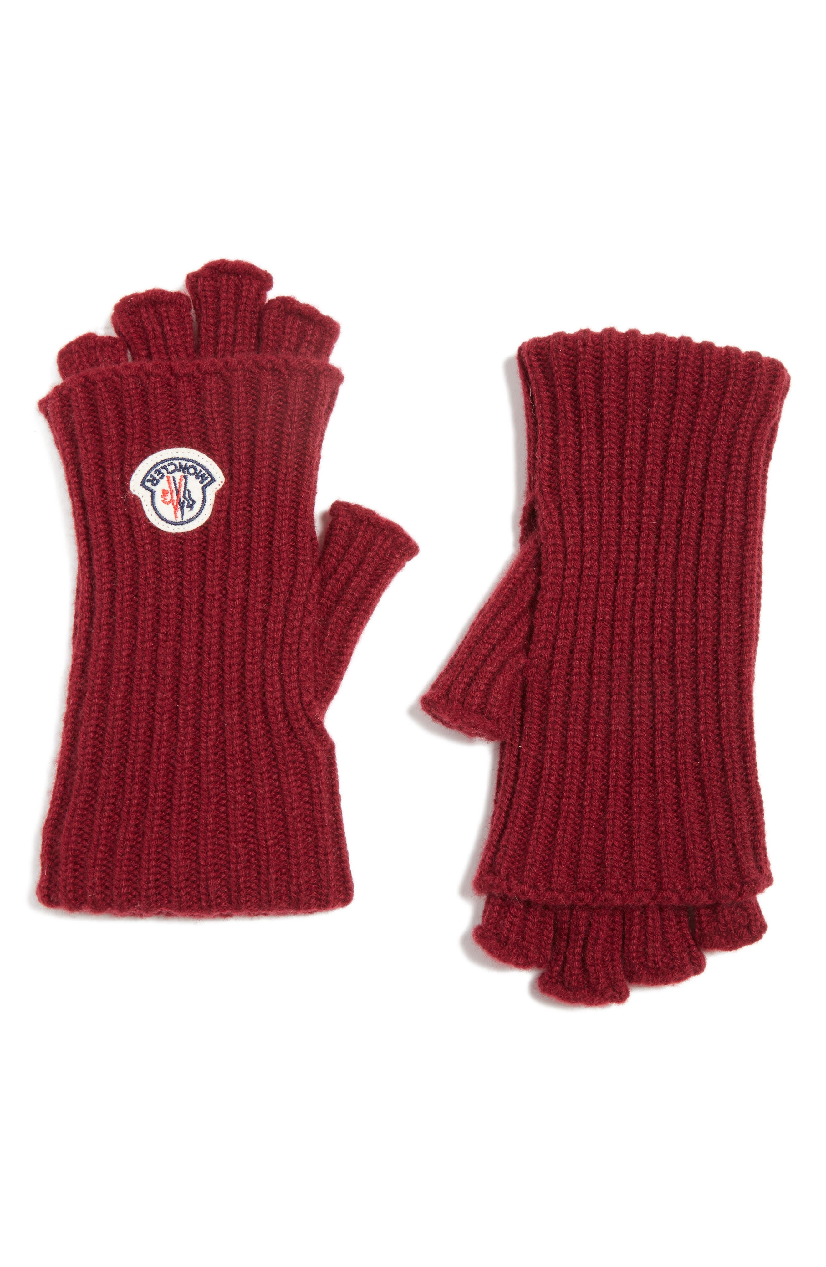 Guanti Wool & Cashmere Long Fingerless Gloves,                         Main,                         color, BURGUNDY