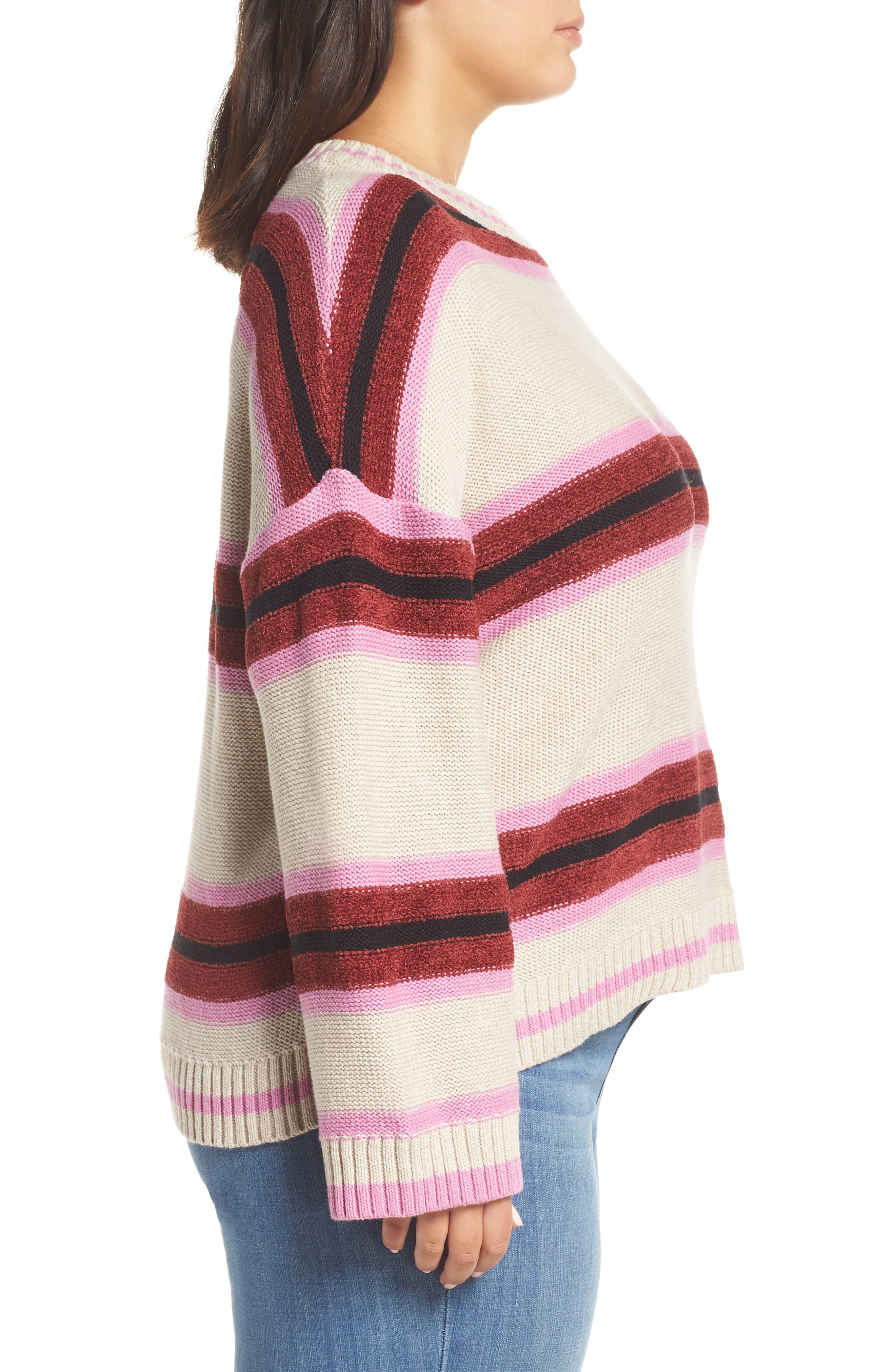 Everyday Stripe Sweater,                             Alternate thumbnail 3, color,                             BEIGE HEATHER ROBYN STRIPE
