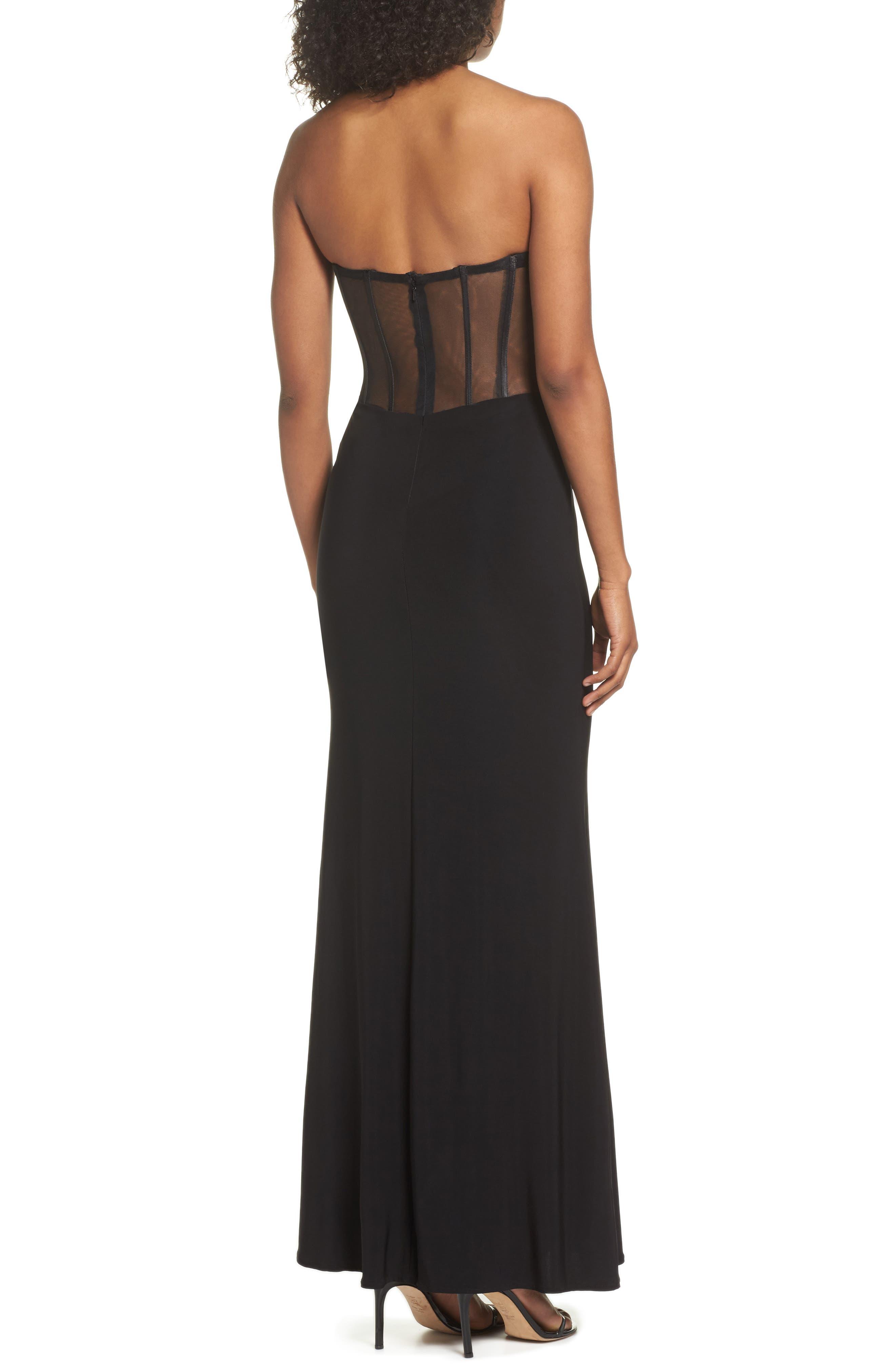 BLONDIE NITES,                             Appliqué Strapless Bustier Gown,                             Alternate thumbnail 2, color,                             015