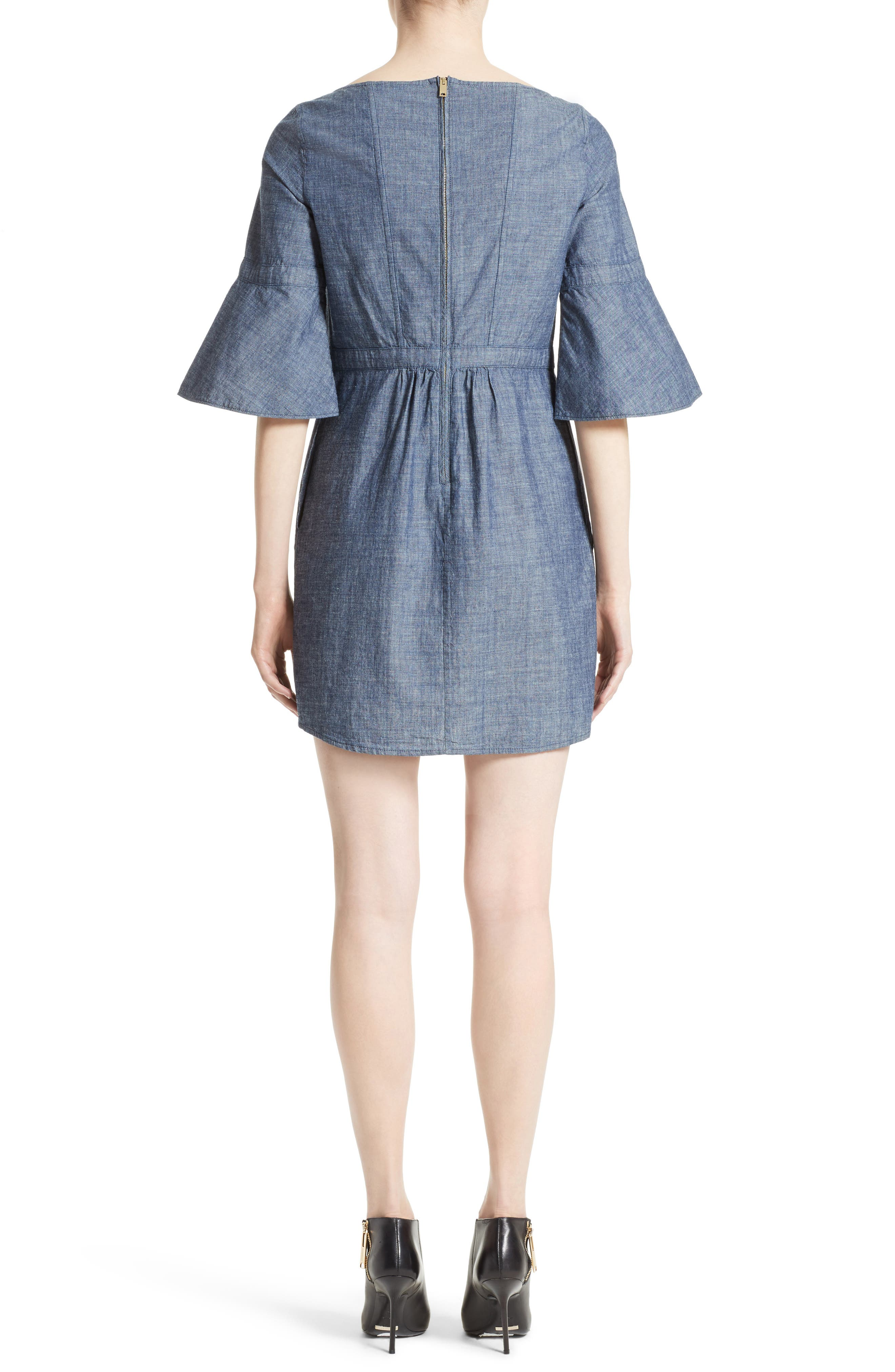 Michelle Bell Sleeve Chambray Dress,                             Alternate thumbnail 2, color,                             423