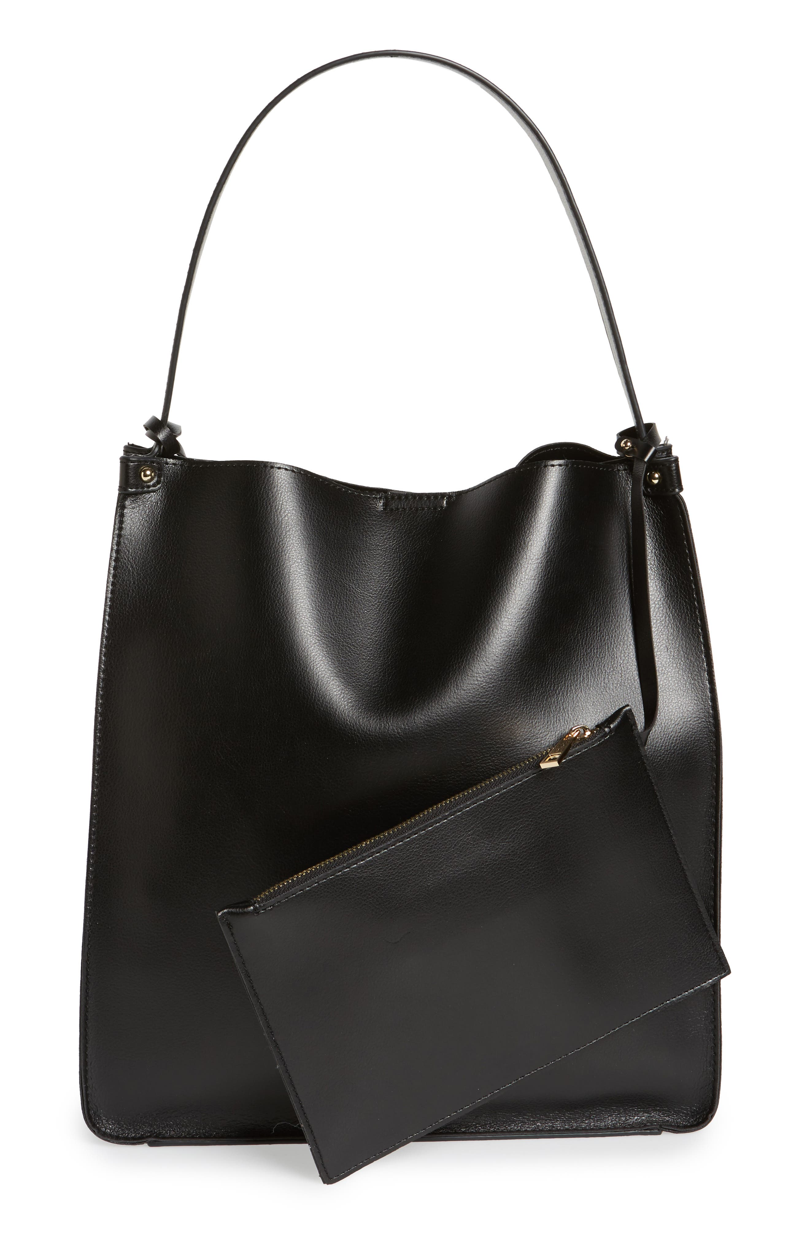 Karlie Faux Leather Bucket Bag,                             Alternate thumbnail 3, color,                             001