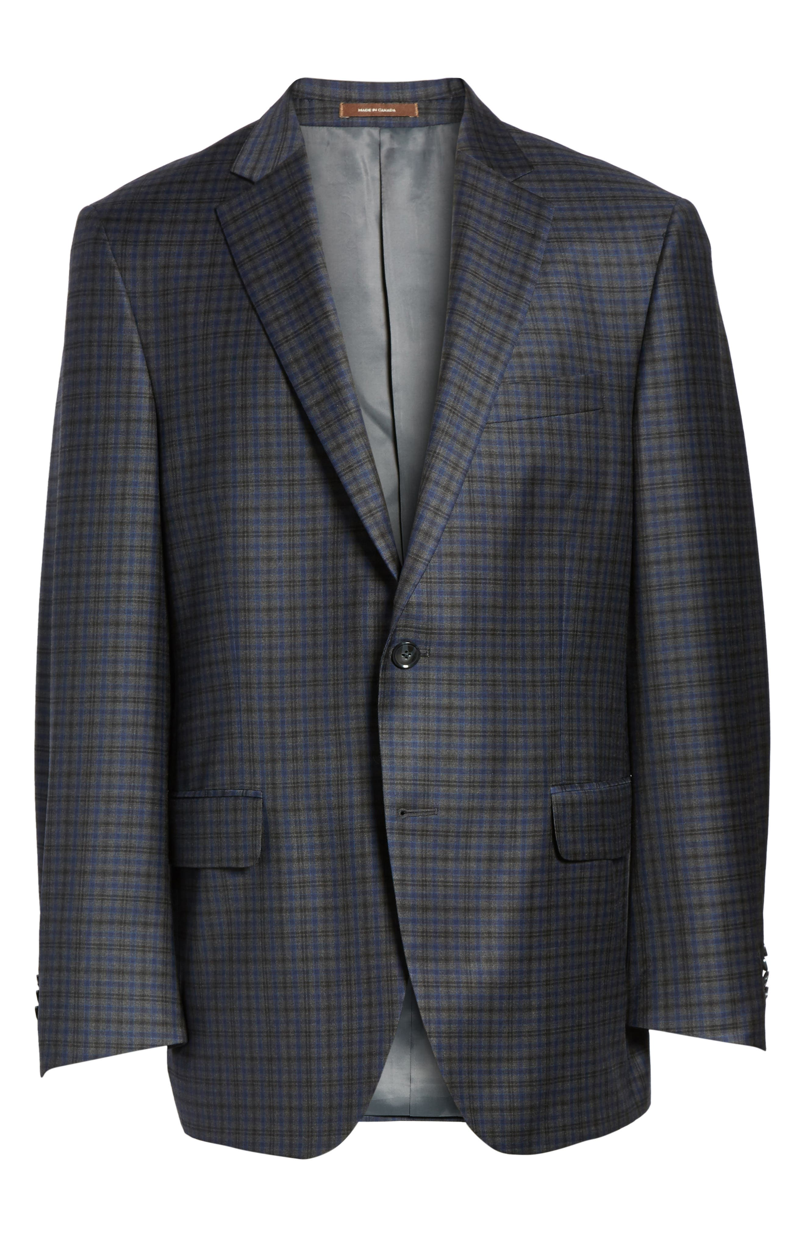 Flynn Classic Fit Plaid Wool Sport Coat,                             Alternate thumbnail 5, color,                             020