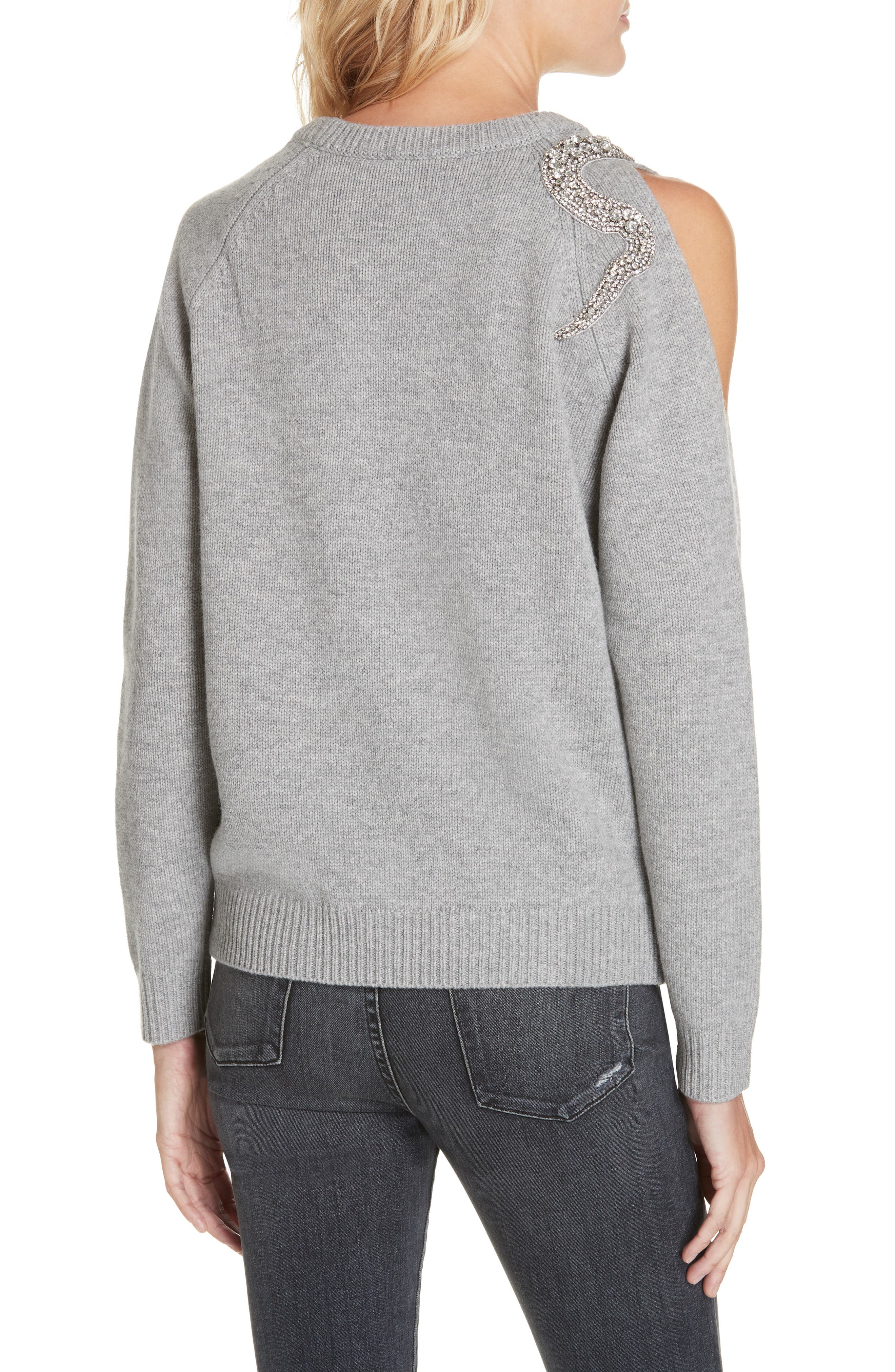 Ossi Embellished Wool Sweater,                             Alternate thumbnail 2, color,                             GRIS