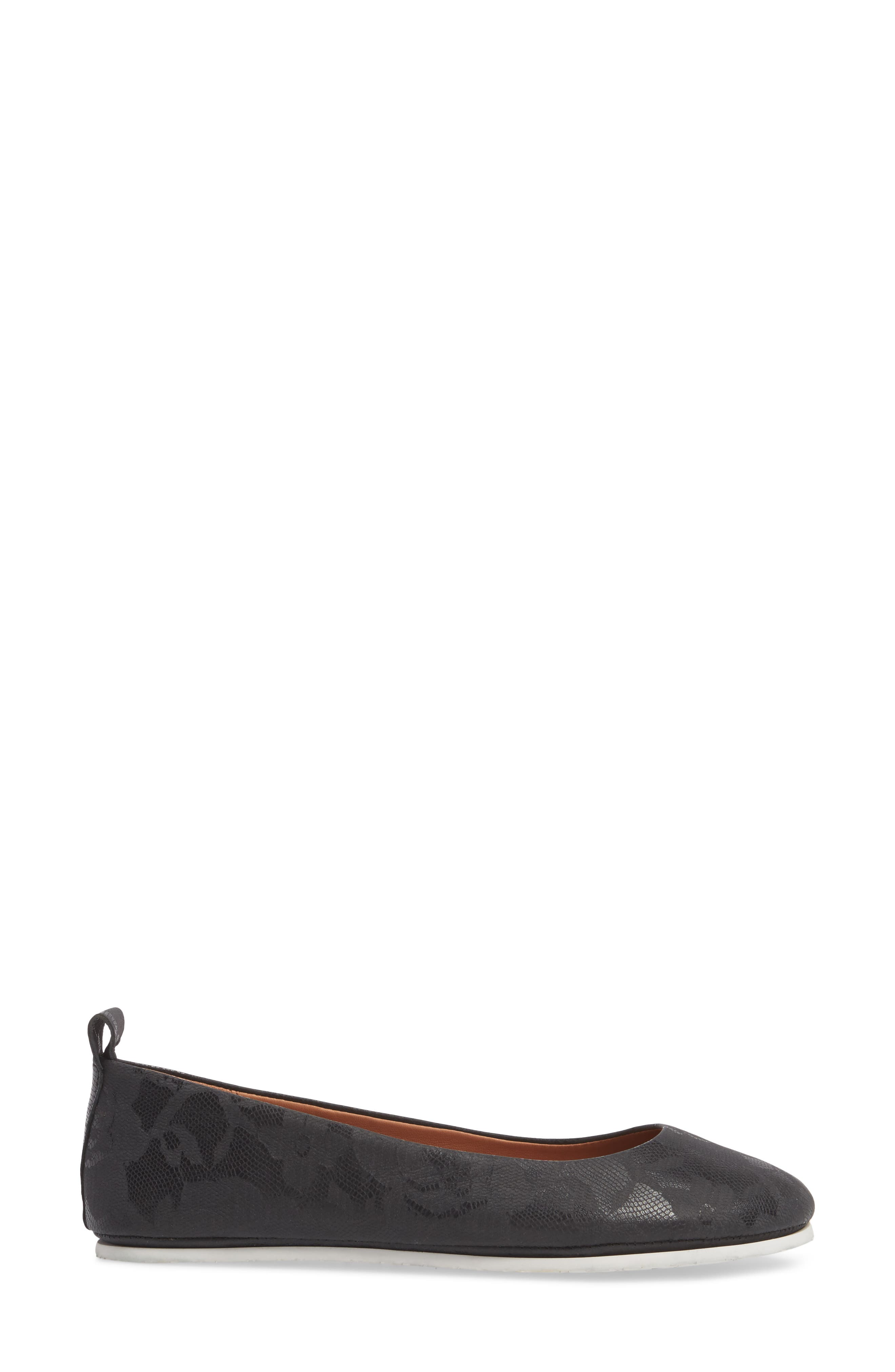 by Kenneth Cole Dana Flat,                             Alternate thumbnail 3, color,                             BLACK/ BLACK LEATHER