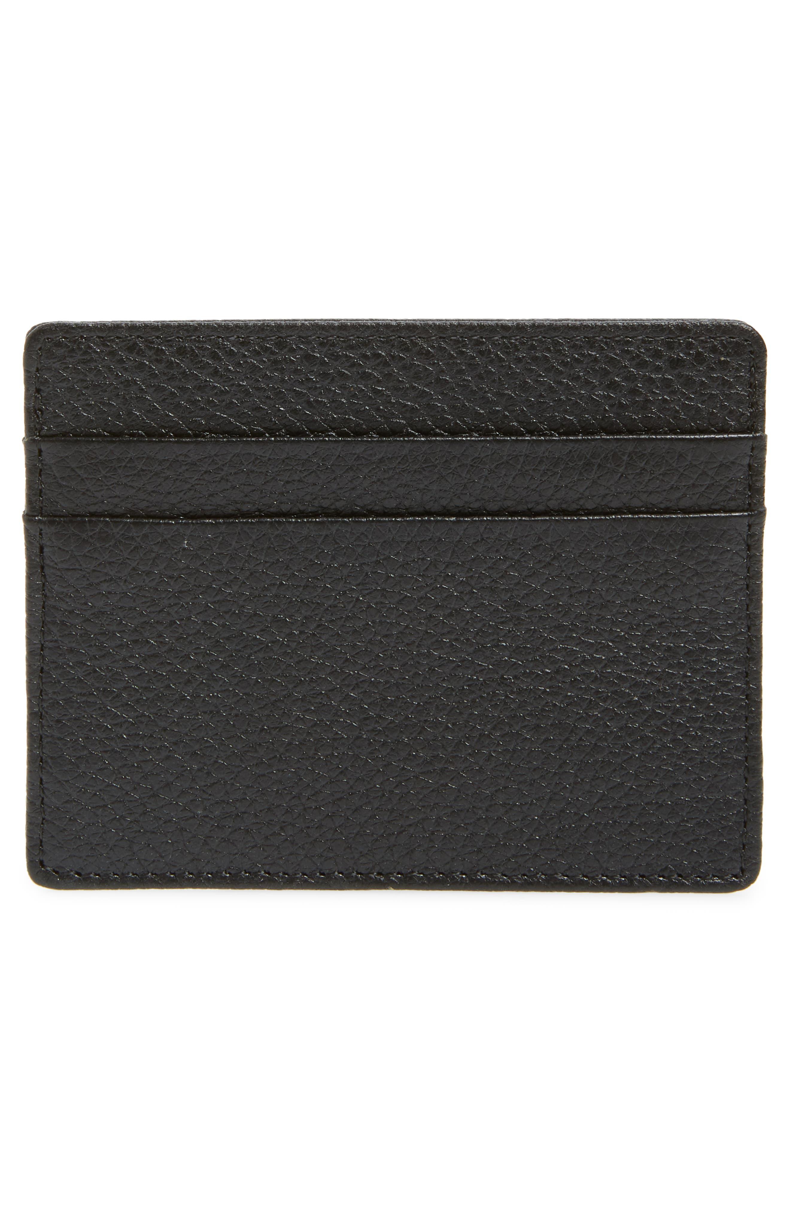 Jamie Leather Card Case,                             Alternate thumbnail 2, color,                             BLACK CAVIAR