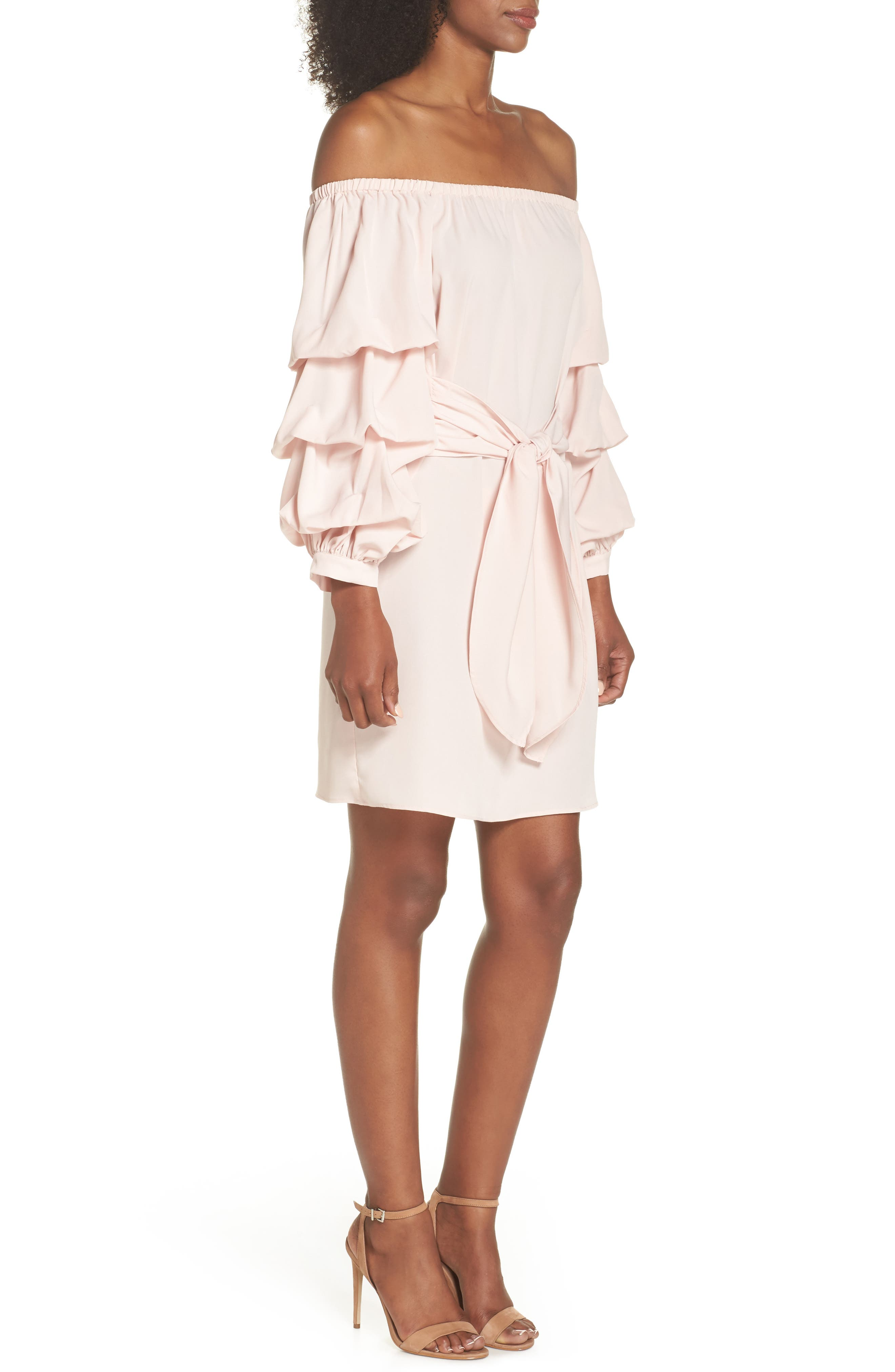 Off the Shoulder Tiered Sleeve Dress,                             Alternate thumbnail 9, color,