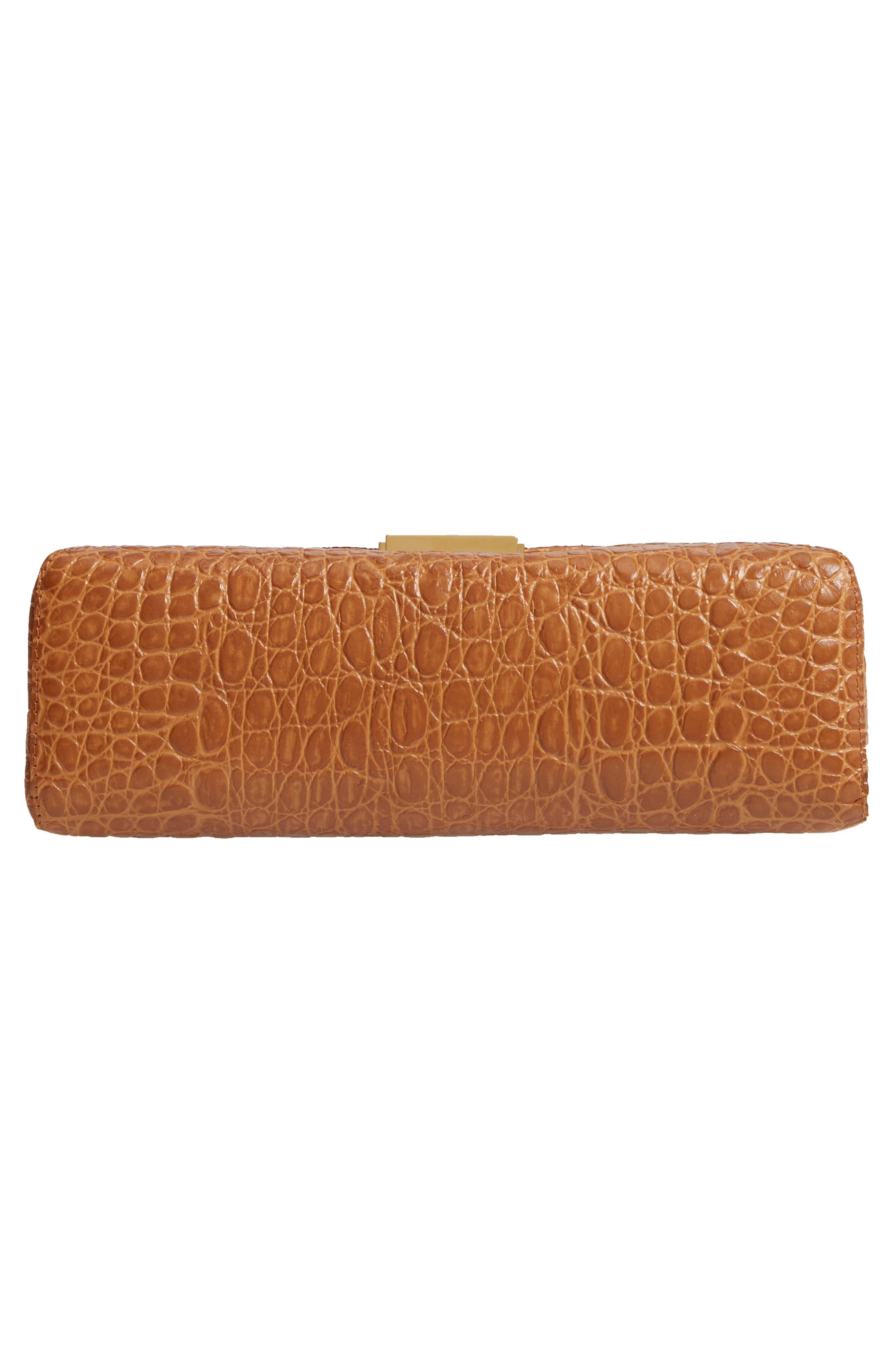 Croc Embossed Leather Shoulder Bag,                             Alternate thumbnail 6, color,                             GOLD