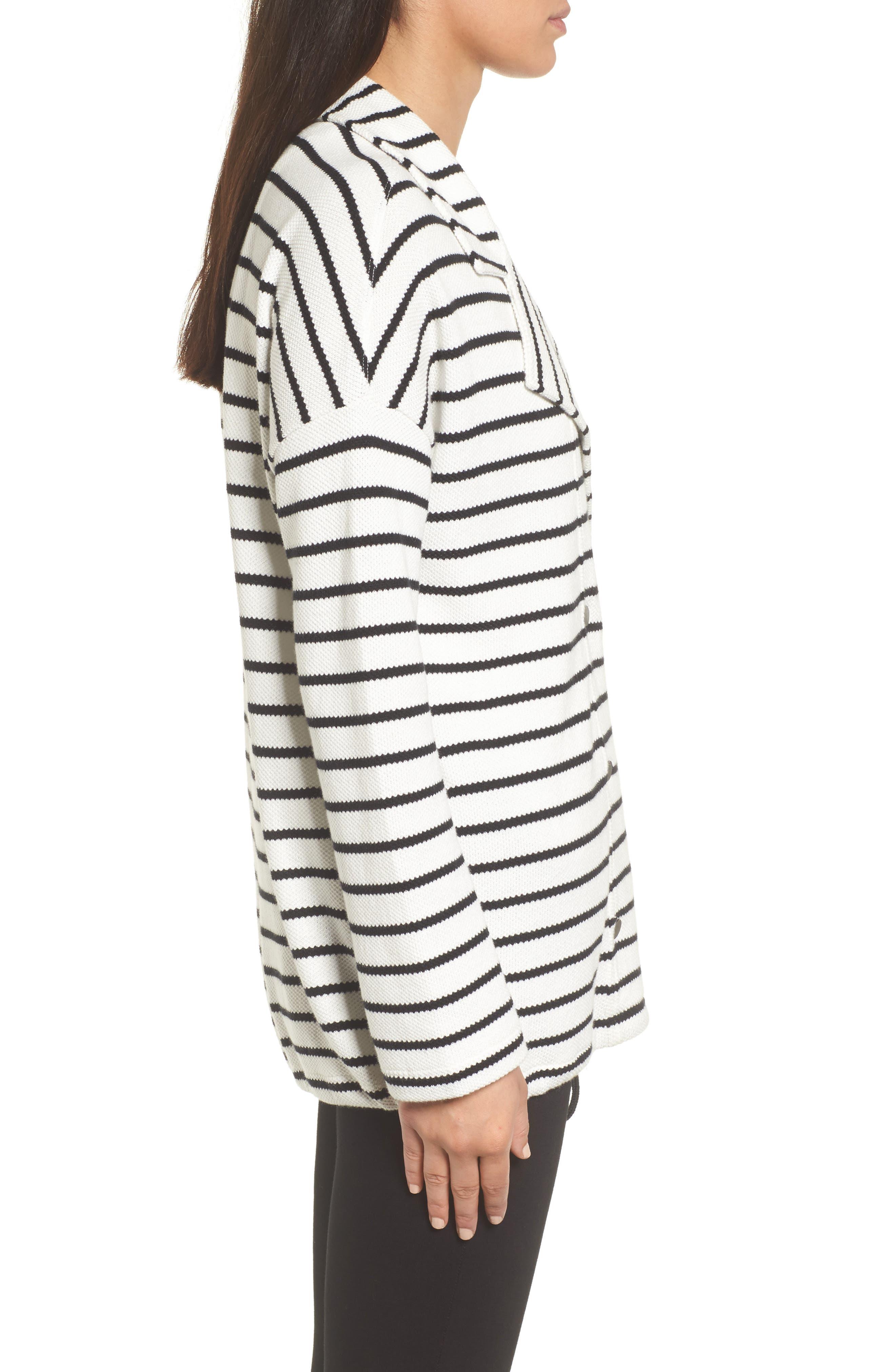 Stripe Knit Drawsting Jacket,                             Alternate thumbnail 6, color,