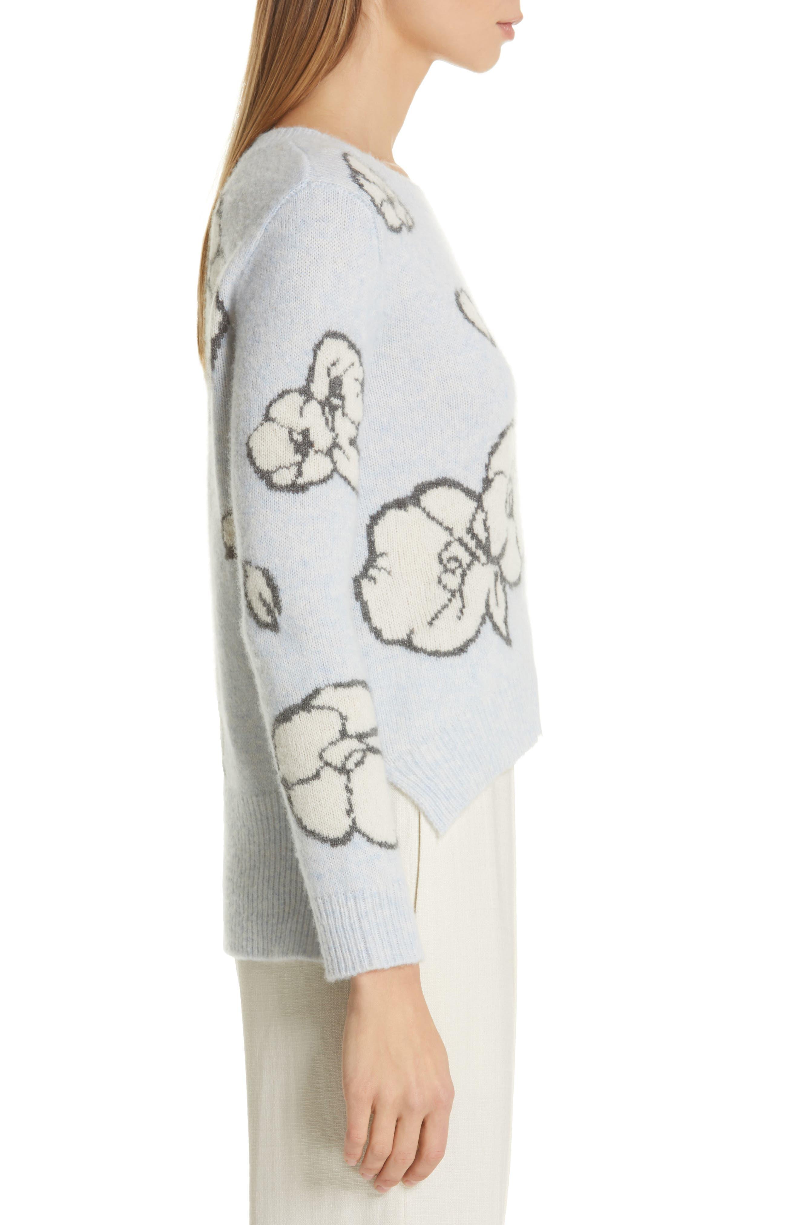 Intarsia Brushed Cashmere & Silk Sweater,                             Alternate thumbnail 3, color,                             ICE BLUE MULTI