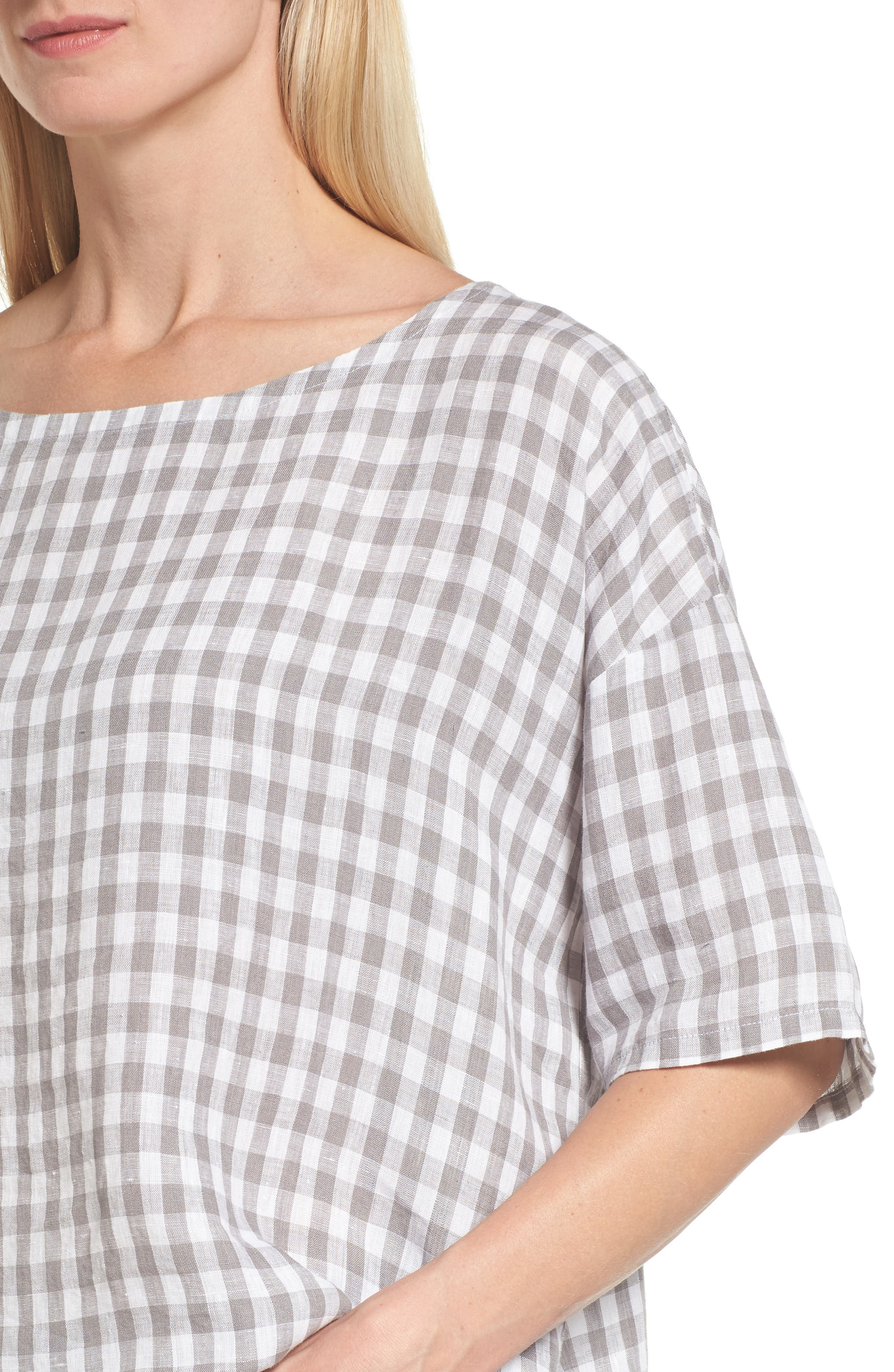 Ballet Neck Box Organic Linen Sweater,                             Alternate thumbnail 4, color,