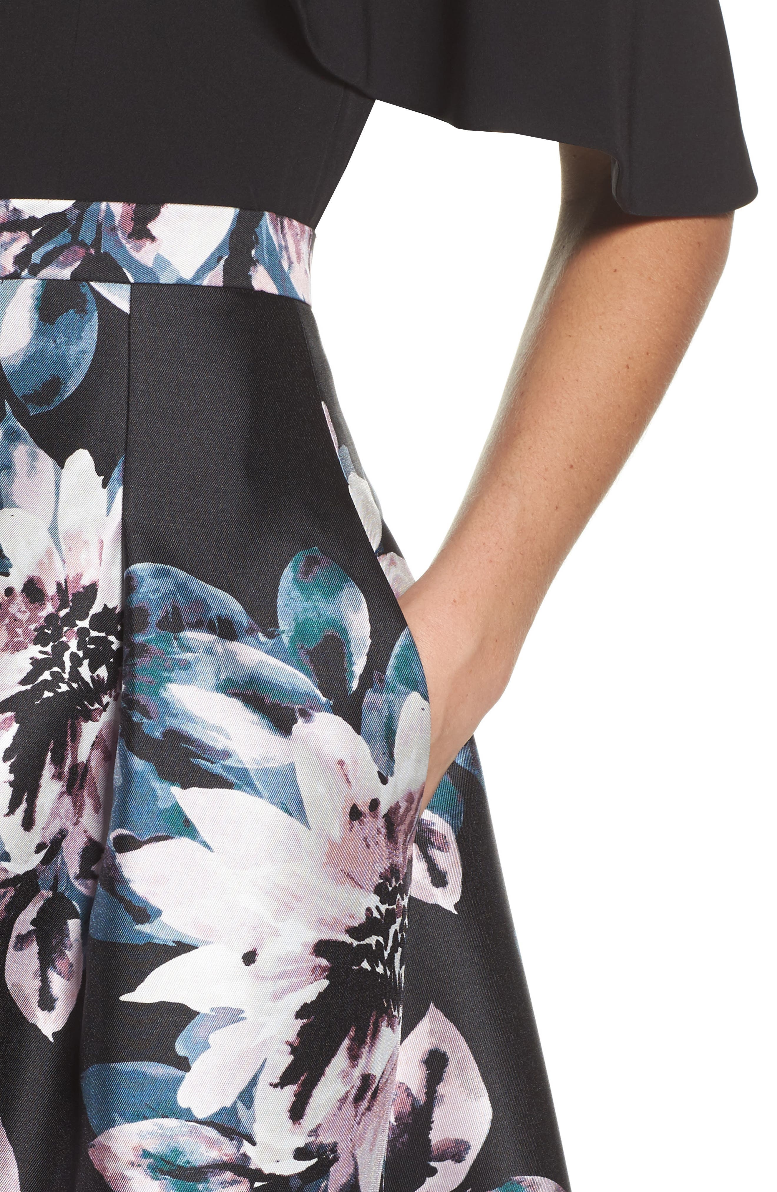 Floral High/Low Skirt,                             Alternate thumbnail 4, color,                             006