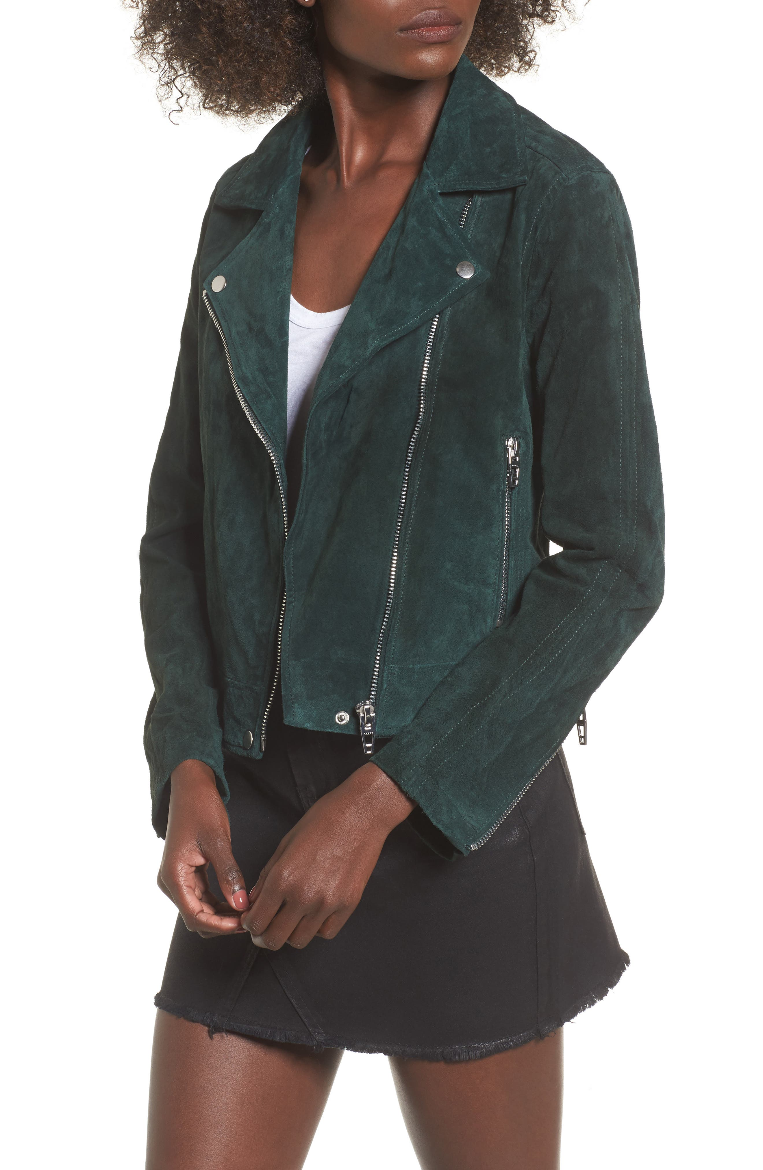 BLANKNYC,                             Suede Moto Jacket,                             Main thumbnail 1, color,                             EVERGREEN