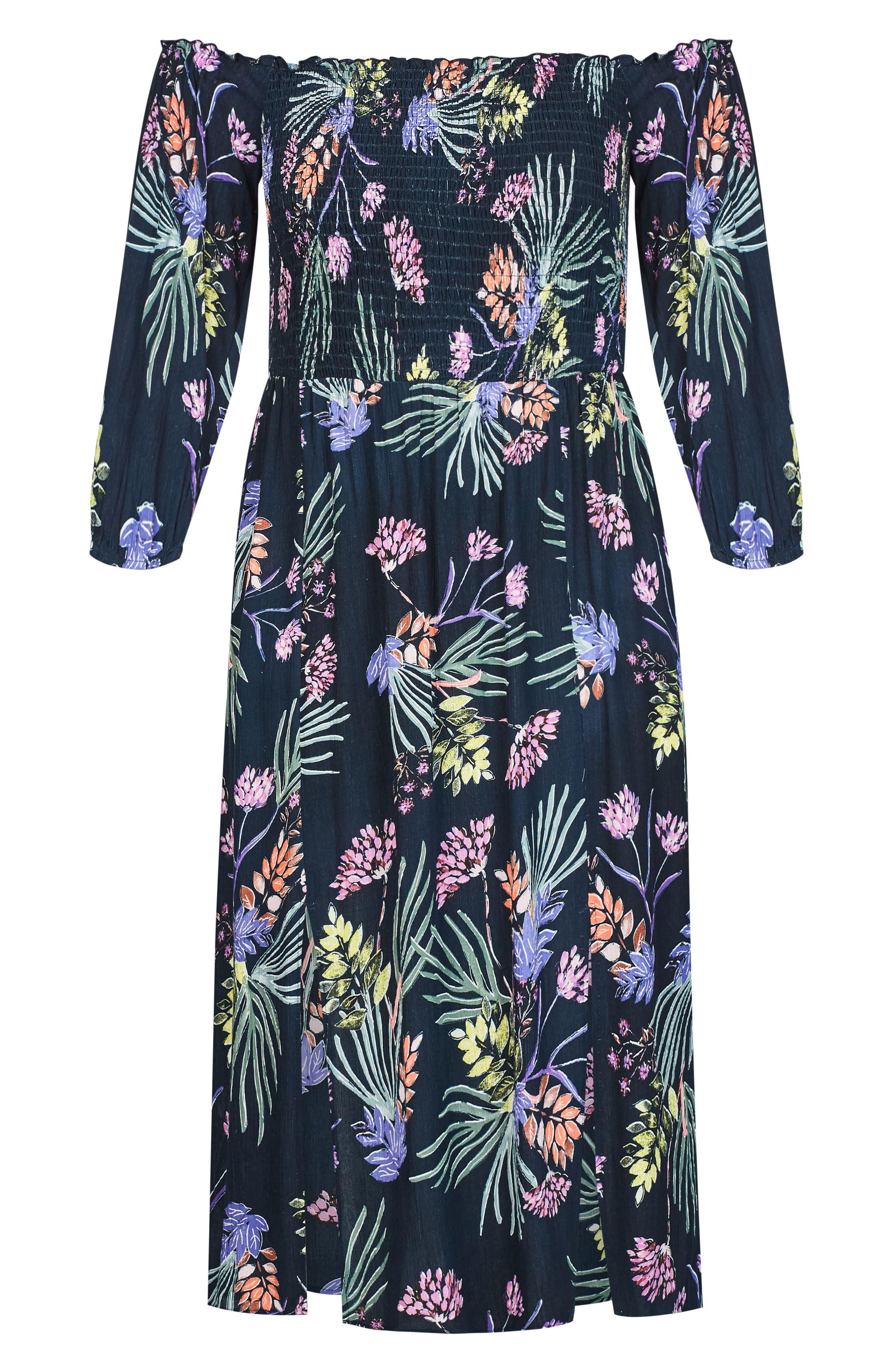 Island Floral Off the Shoulder Midi Dress,                             Alternate thumbnail 3, color,                             EXOTIC GARDEN