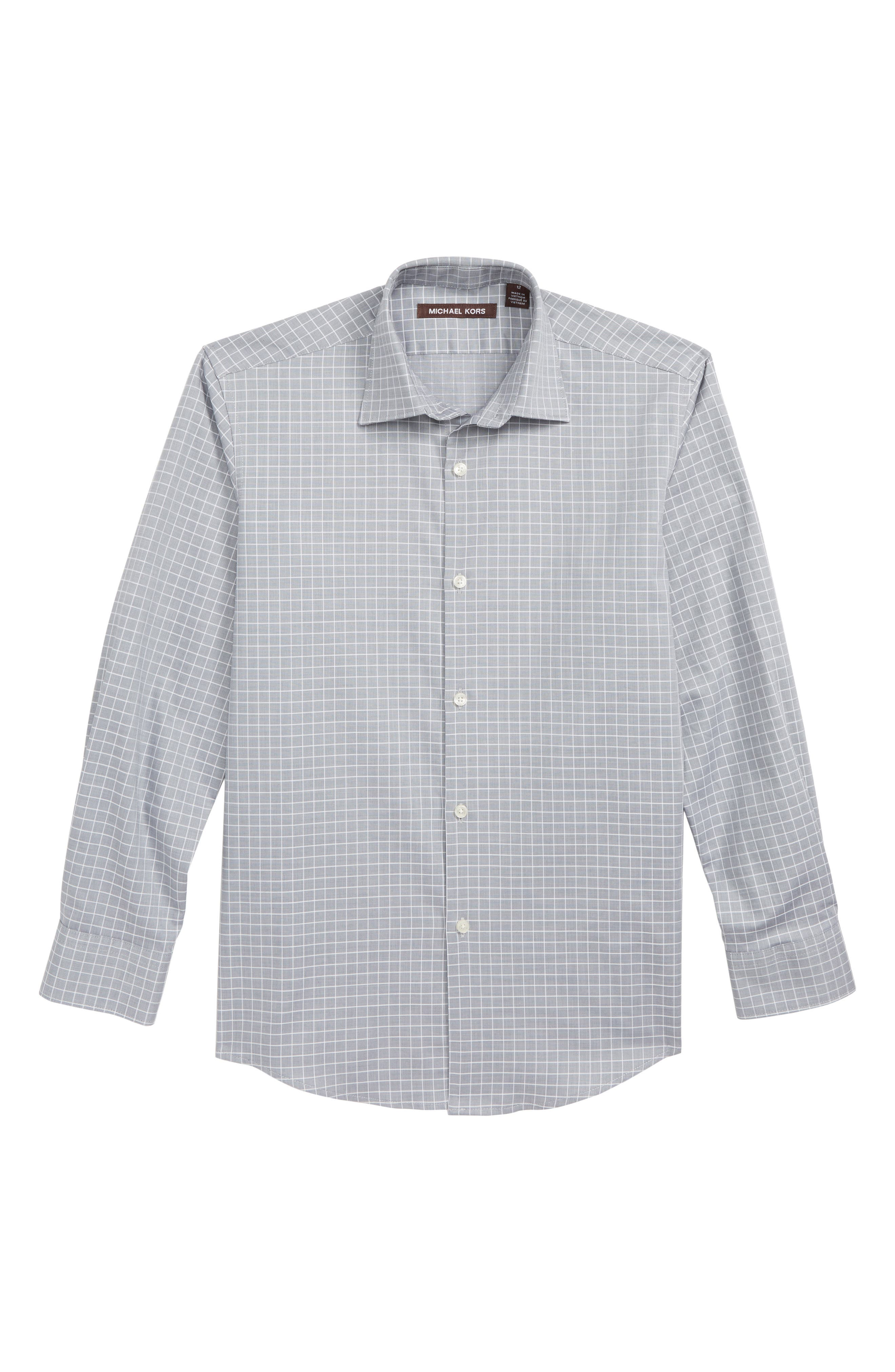 Check Dress Shirt,                             Main thumbnail 1, color,                             CHARCOAL