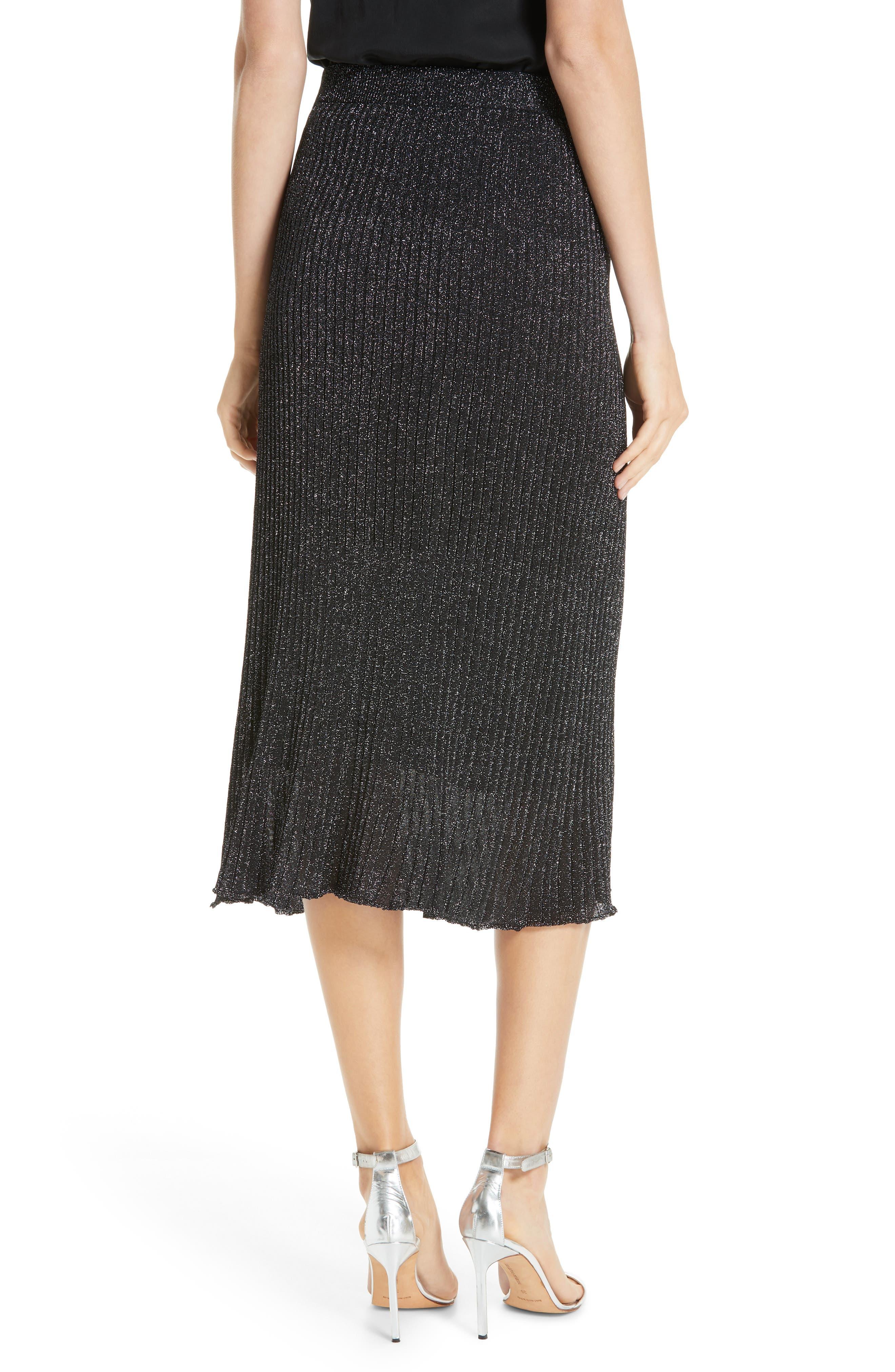 Othello Metallic Ribbed Skirt,                             Alternate thumbnail 2, color,                             BLACK