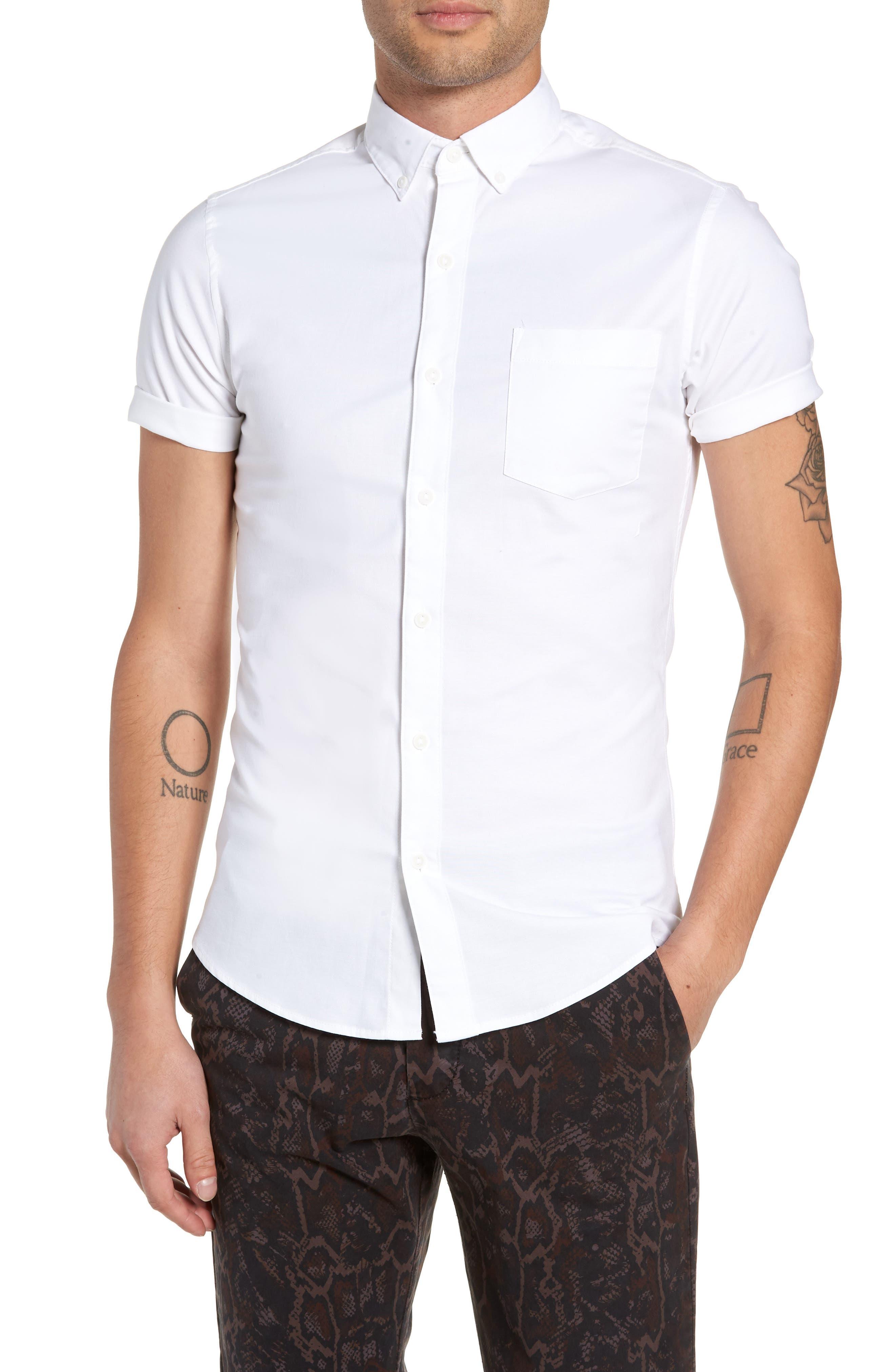 Muscle Fit Oxford Shirt,                             Main thumbnail 1, color,                             100