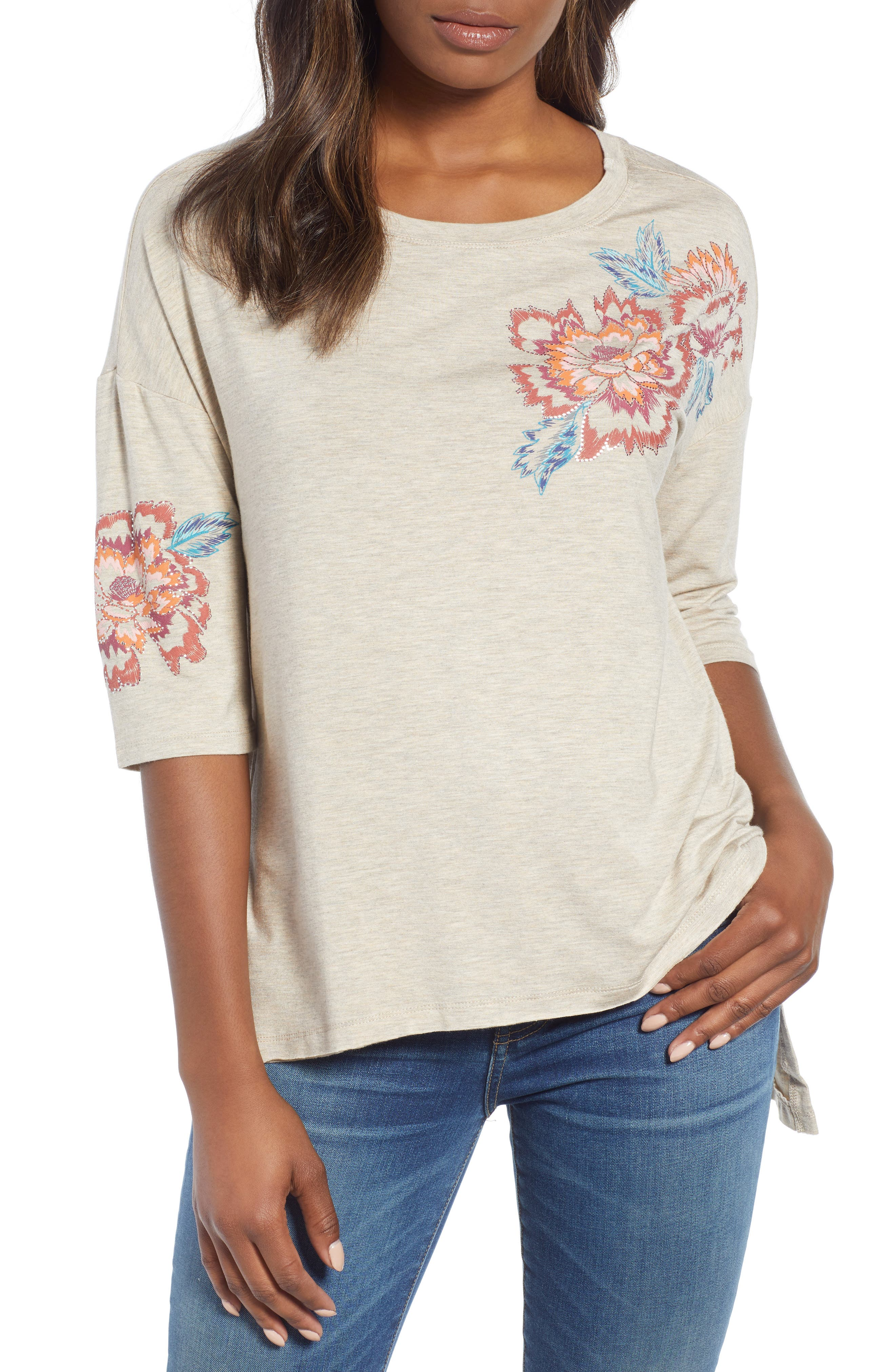 Floral Print Top,                             Main thumbnail 1, color,                             279