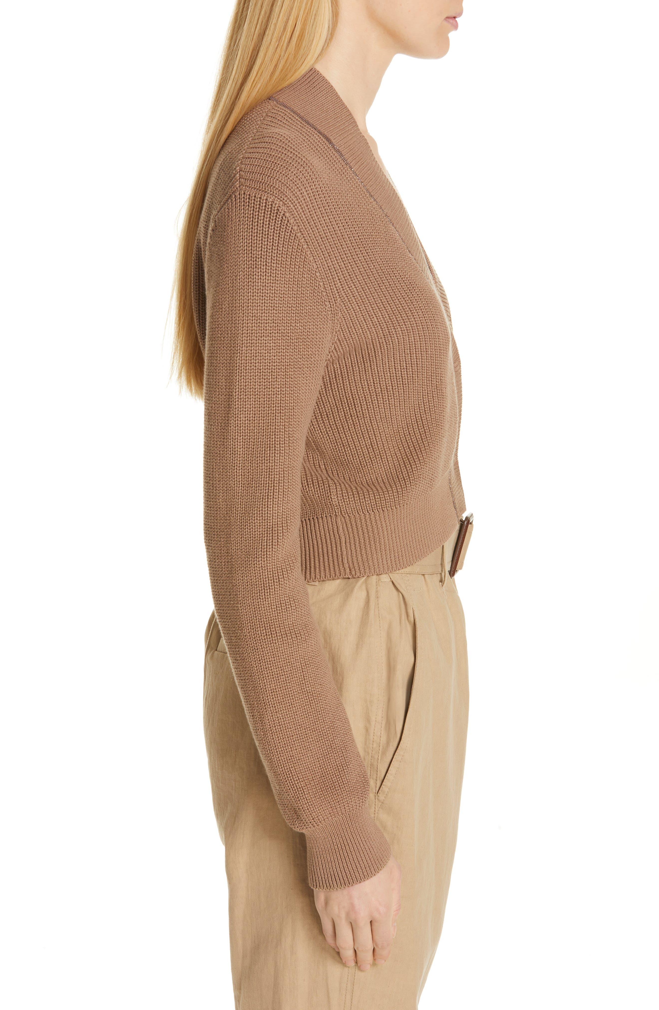 Monili Trim Crop Cotton Cardigan,                             Alternate thumbnail 3, color,                             CUBANO
