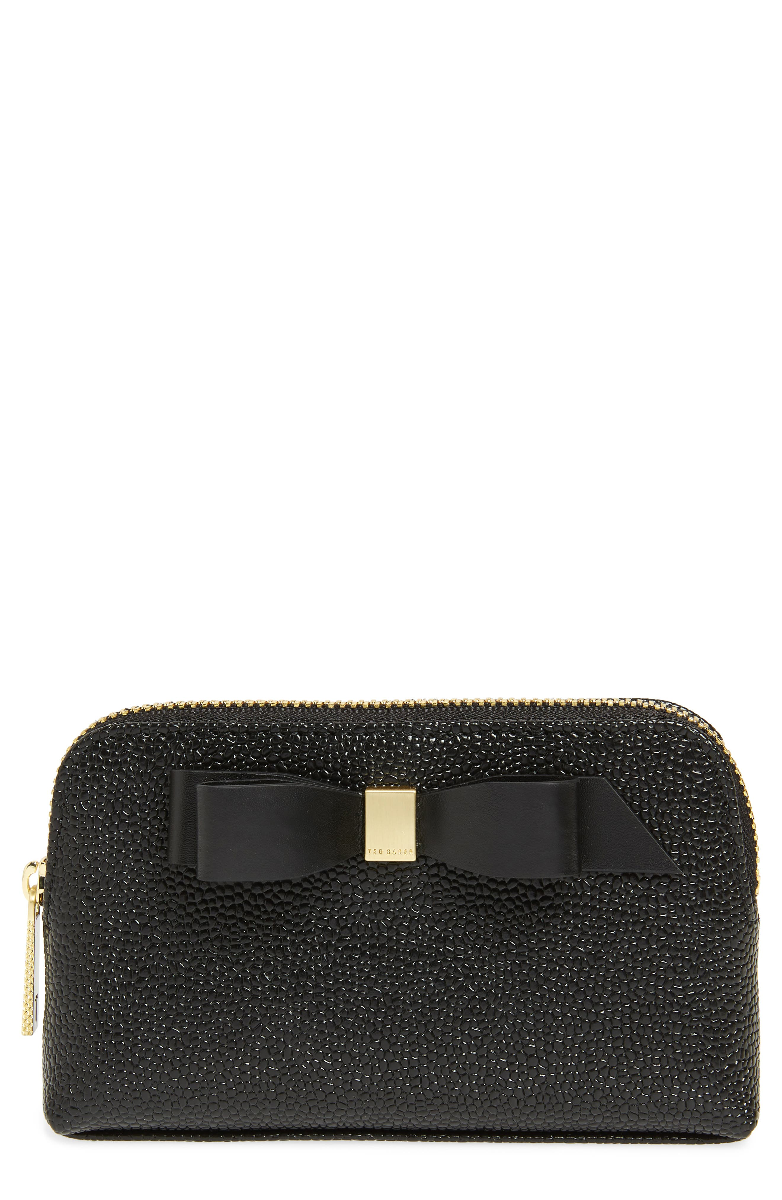 Emmahh Bow Small Leather Cosmetics Case, Main, color, BLACK
