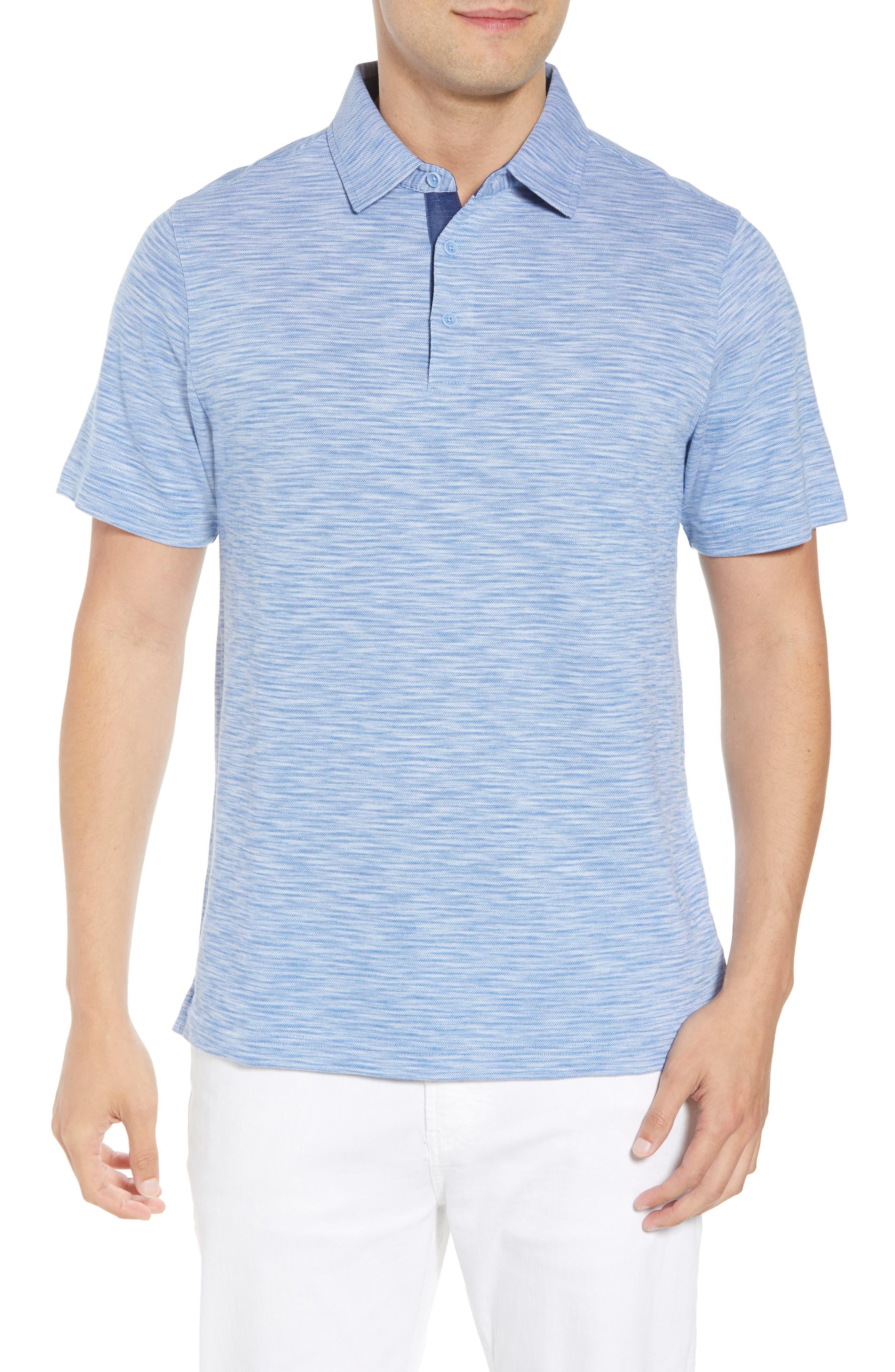 Marled Stripe Polo,                         Main,                         color, CLASSIC BLUE