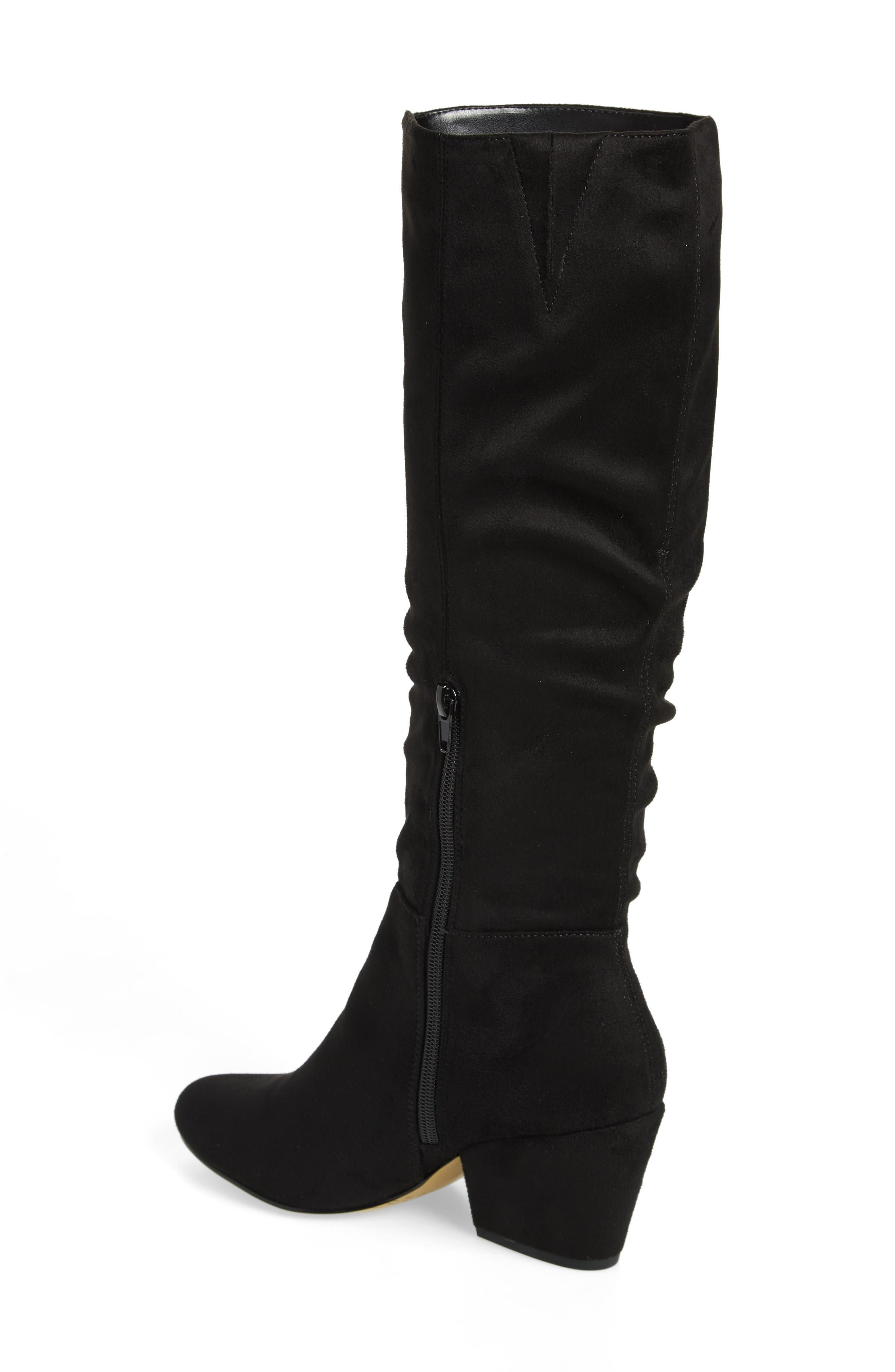 Karen II Knee High Slouch Boot,                             Alternate thumbnail 2, color,                             BLACK FAUX SUEDE