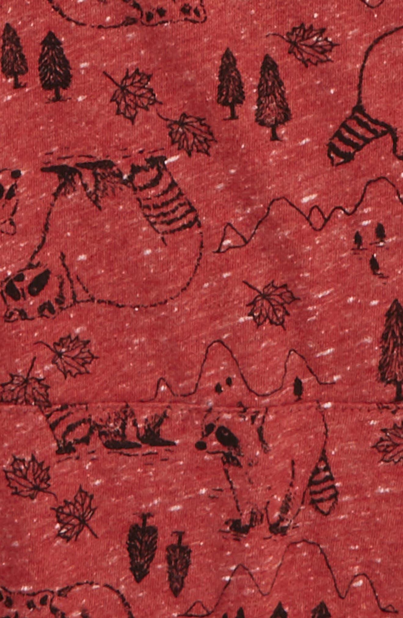 Woodland Print Henley Hoodie,                             Alternate thumbnail 2, color,