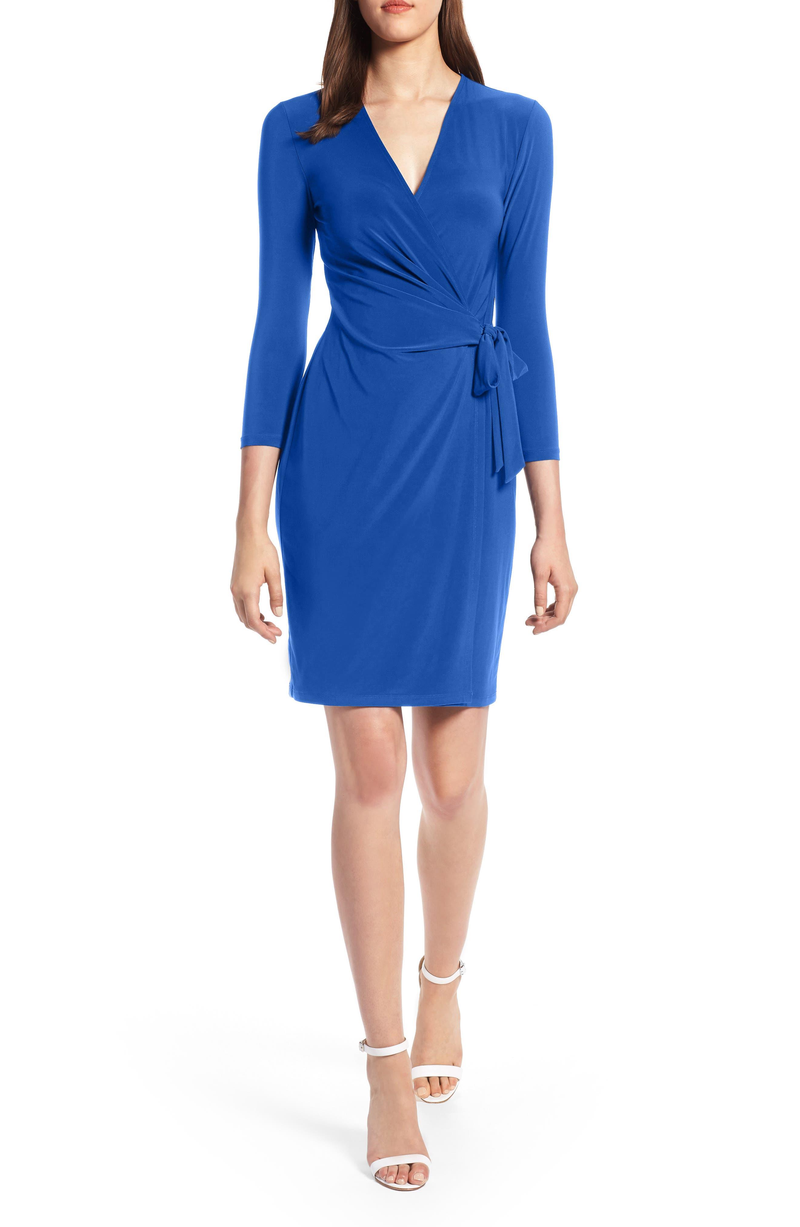 Faux Wrap Dress,                         Main,                         color, CEZANNE BLUE