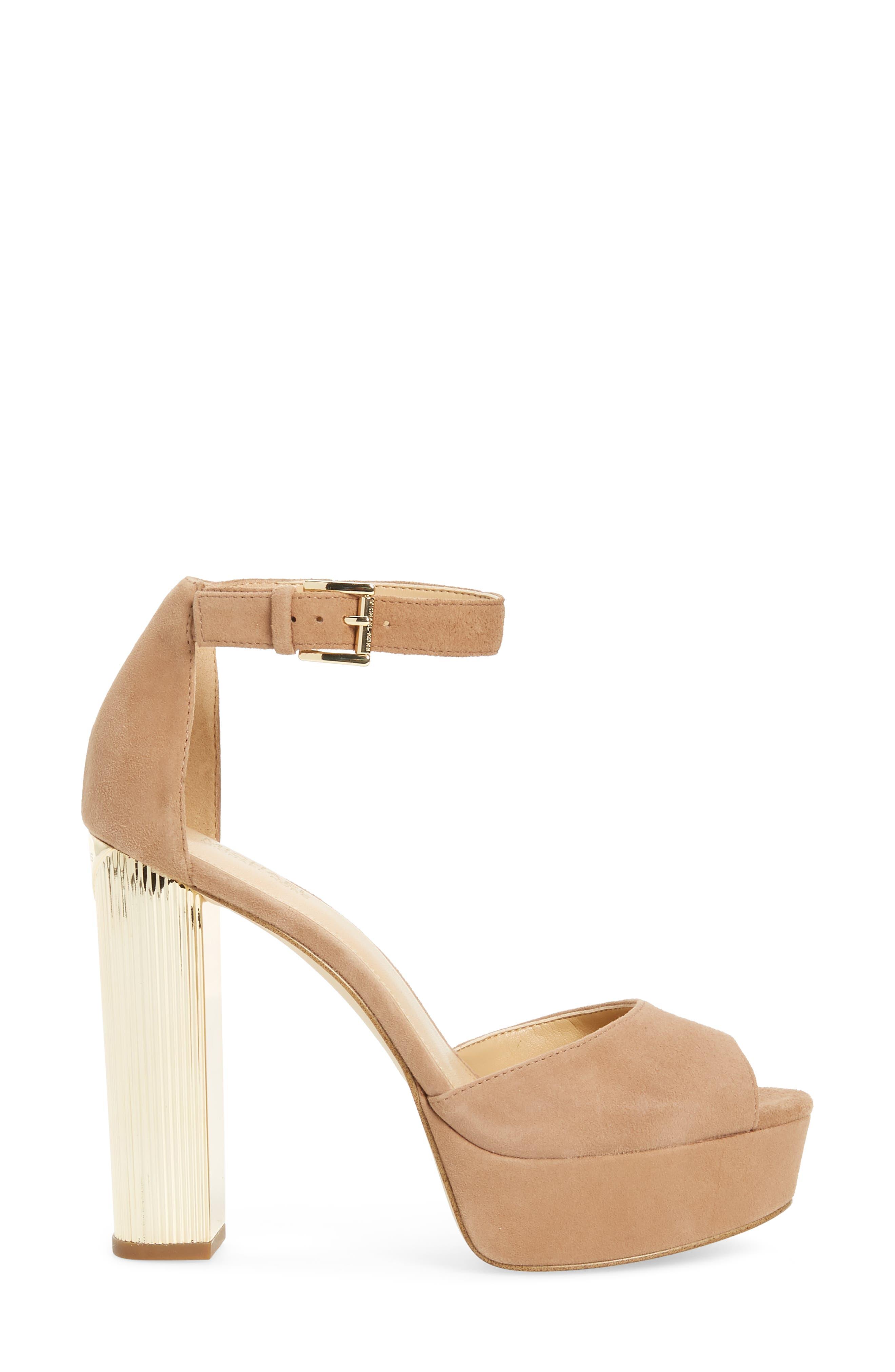 Paloma Metallic Heel Platform Sandal,                             Alternate thumbnail 3, color,                             DARK KHAKI